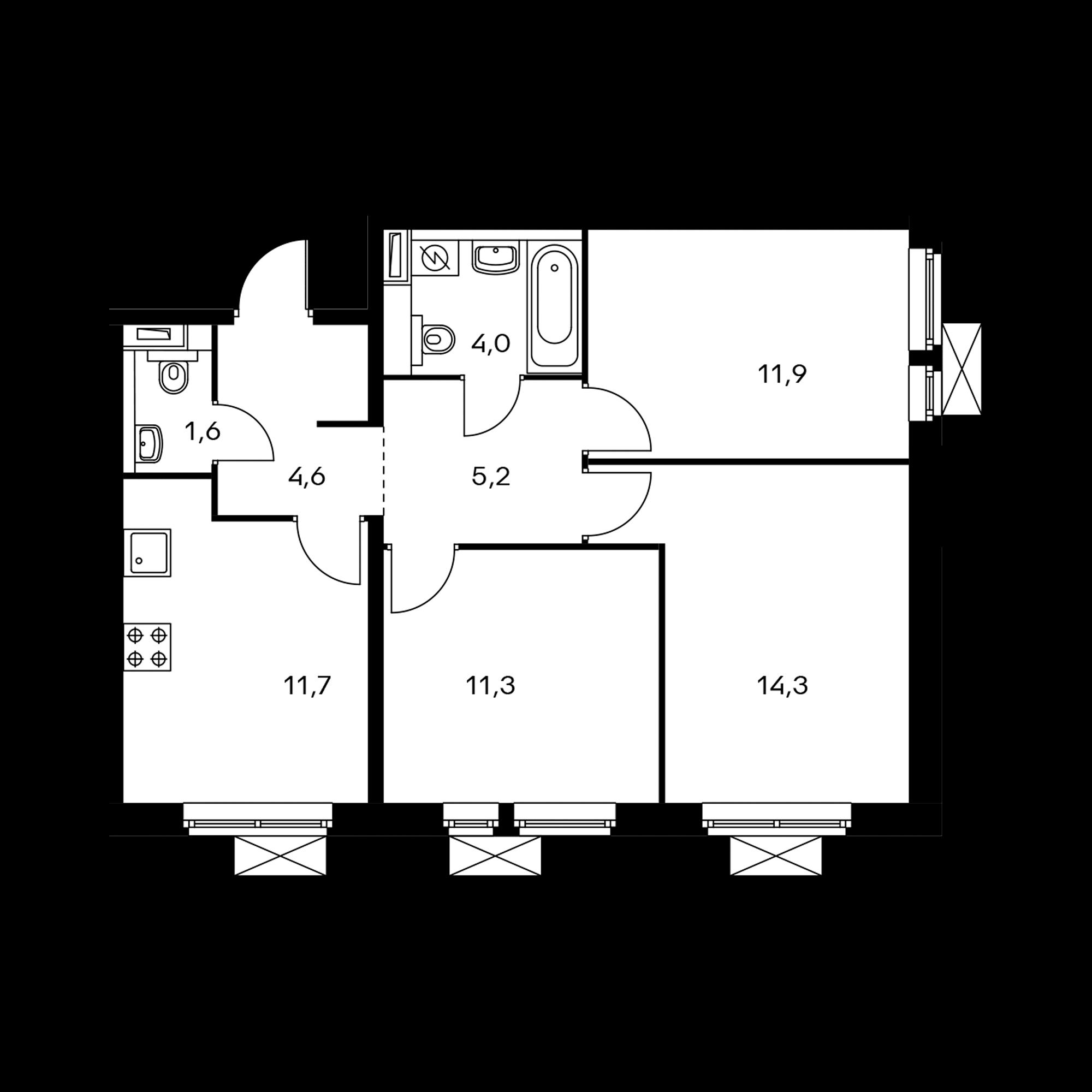 3-комнатная 64.6 м²