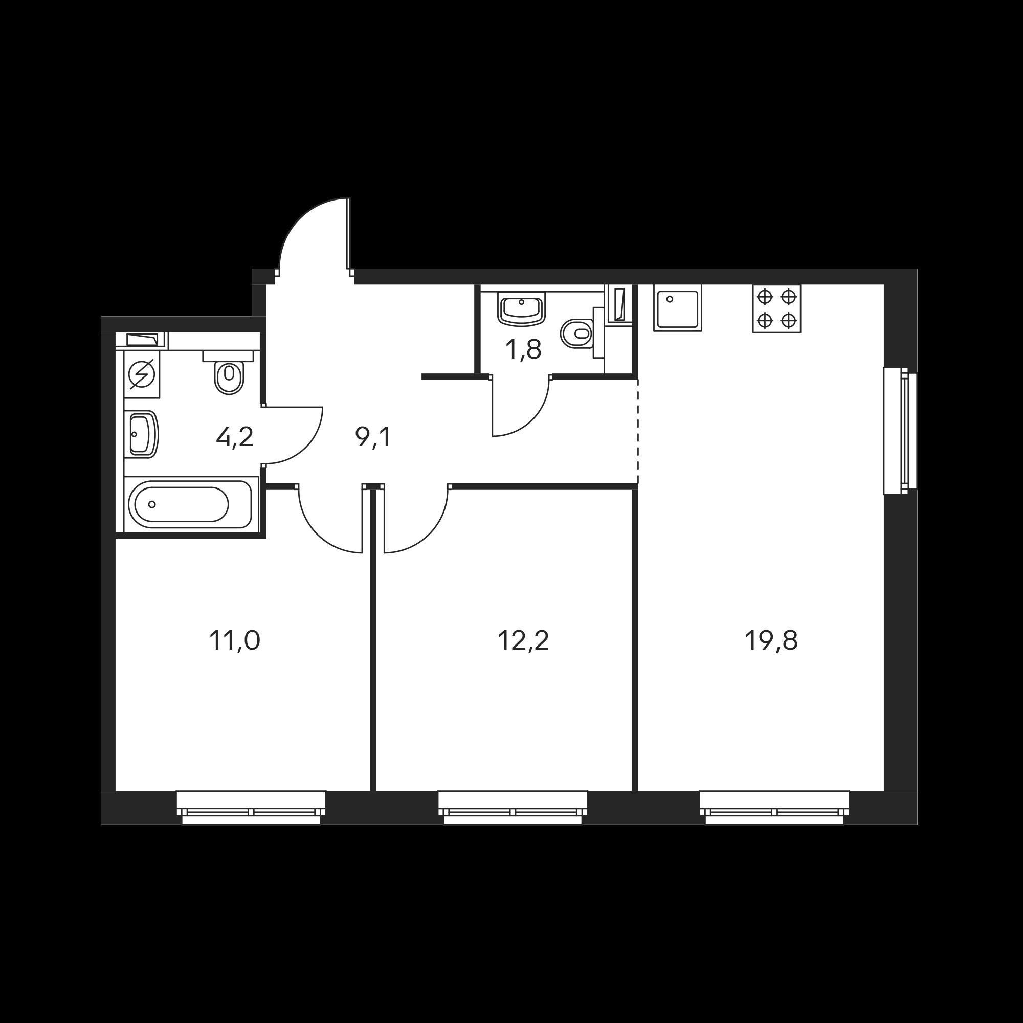 2-комнатная 58.1  м²