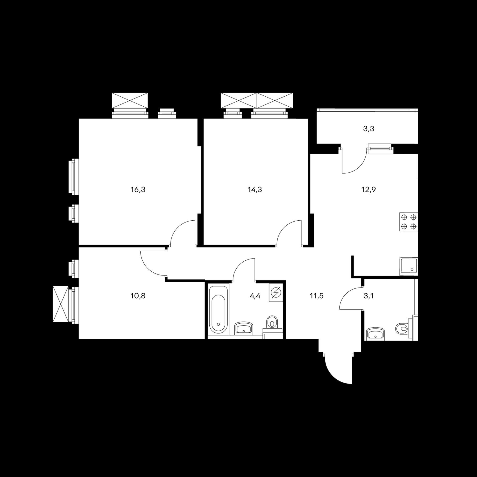 3-комнатная 75.1  м²