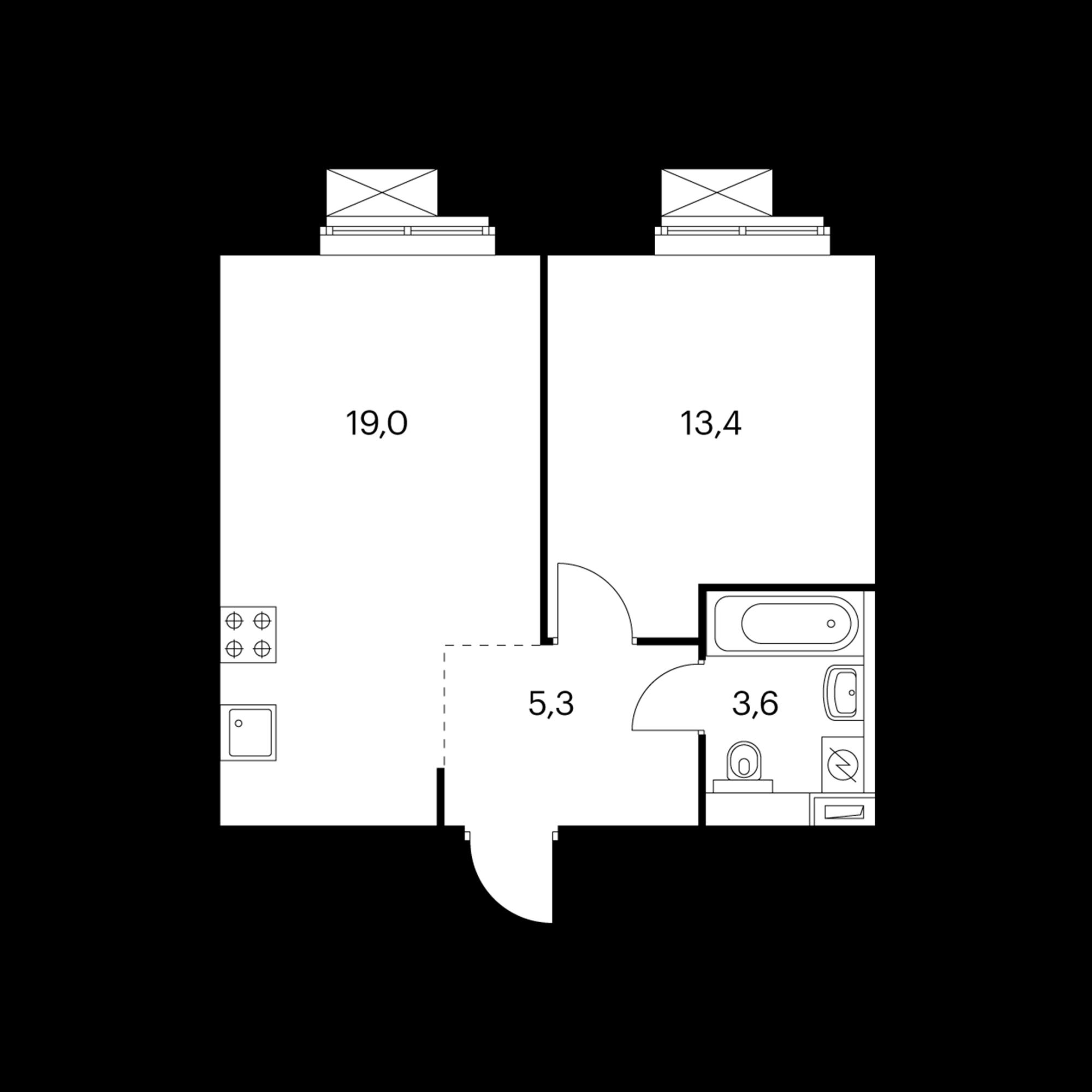 1-комнатная 41.7  м²