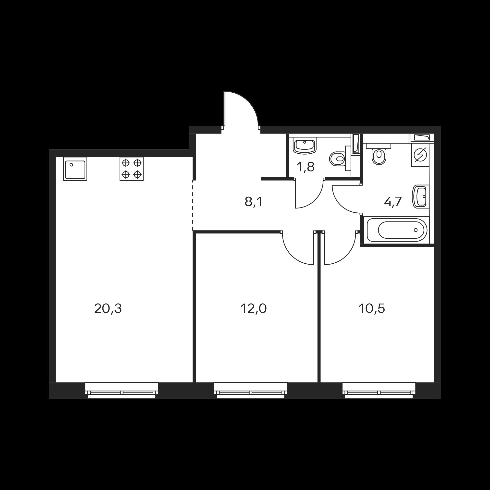 2-комнатная 57.4 м²