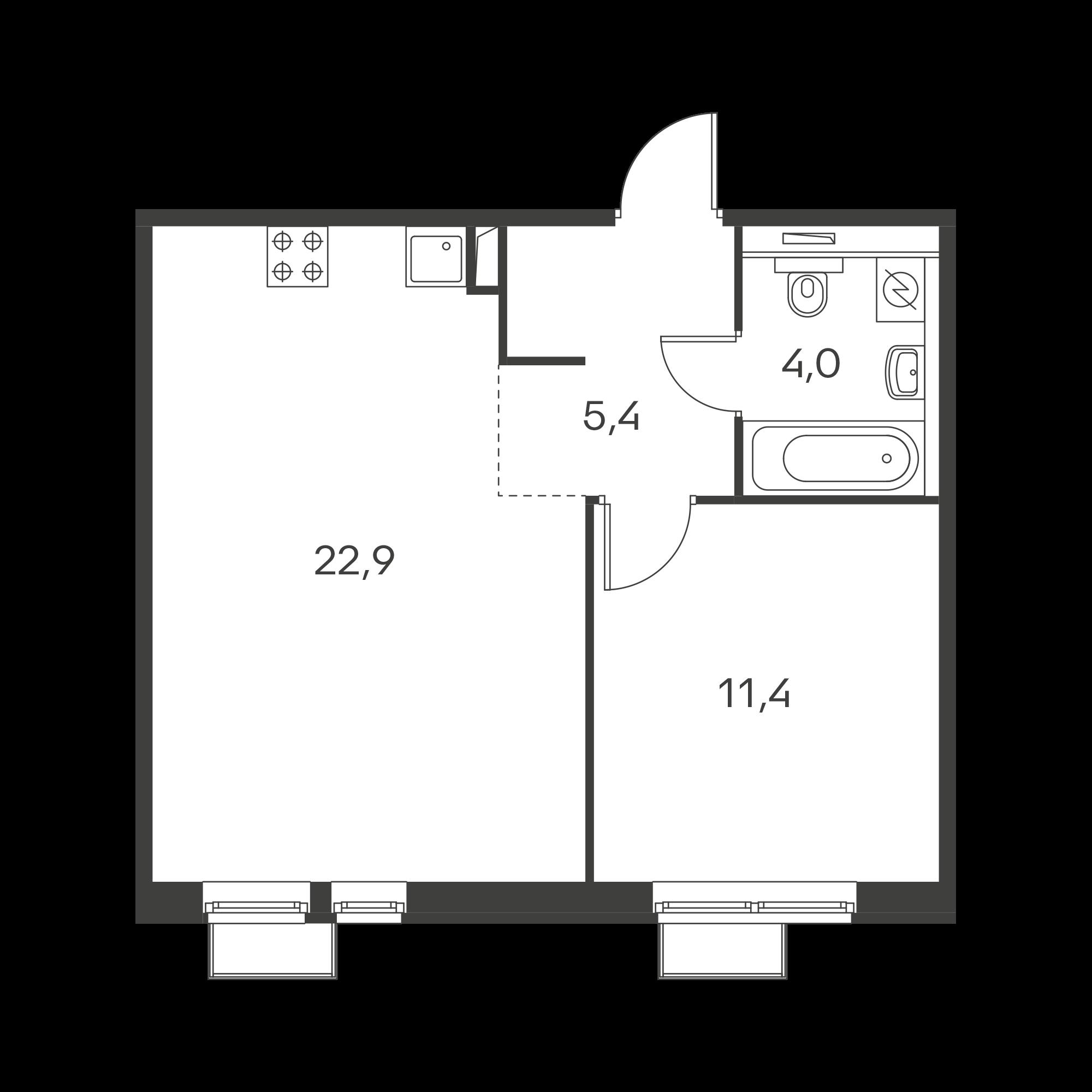 1-комнатная 43.7 м²