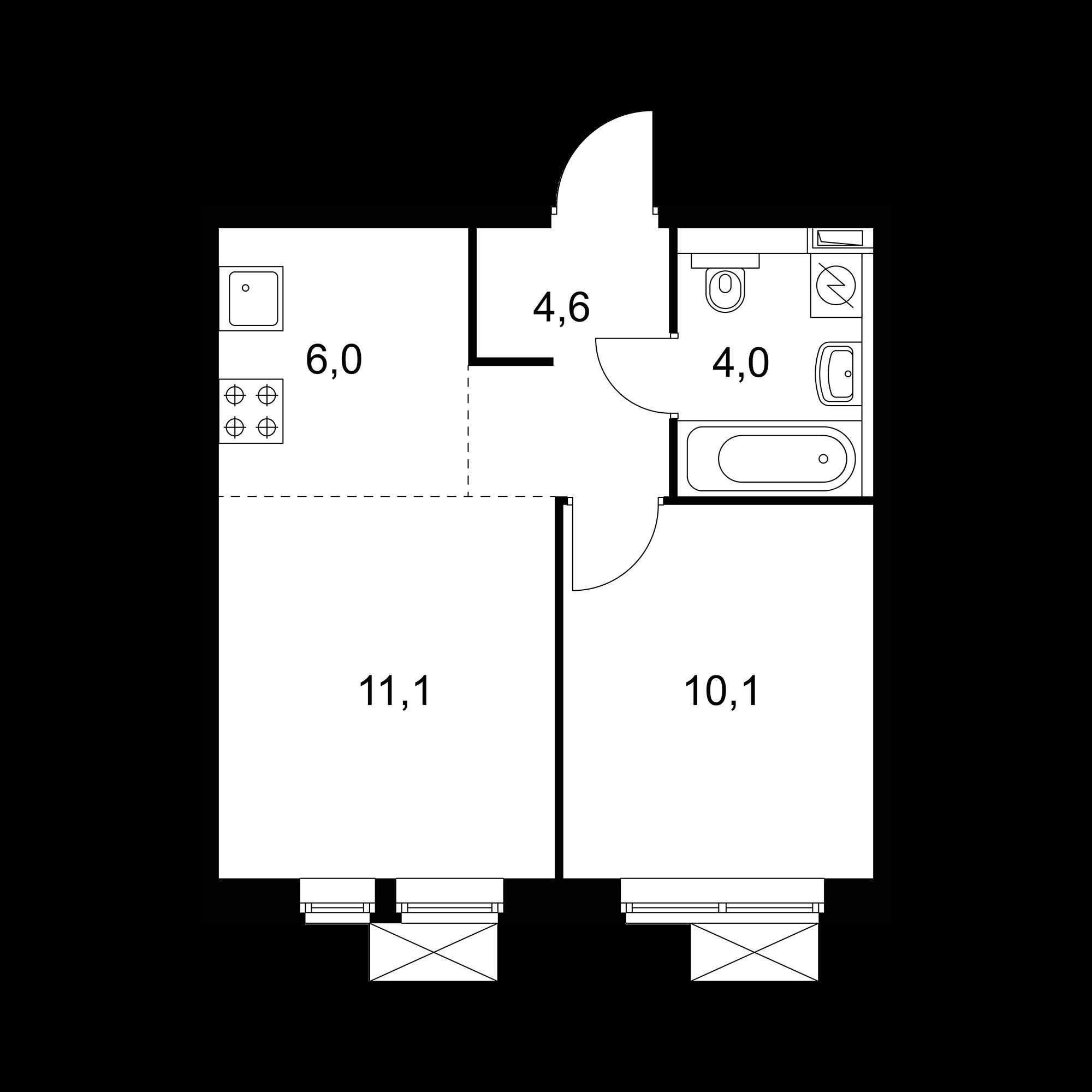 2-комнатная 35.8 м²