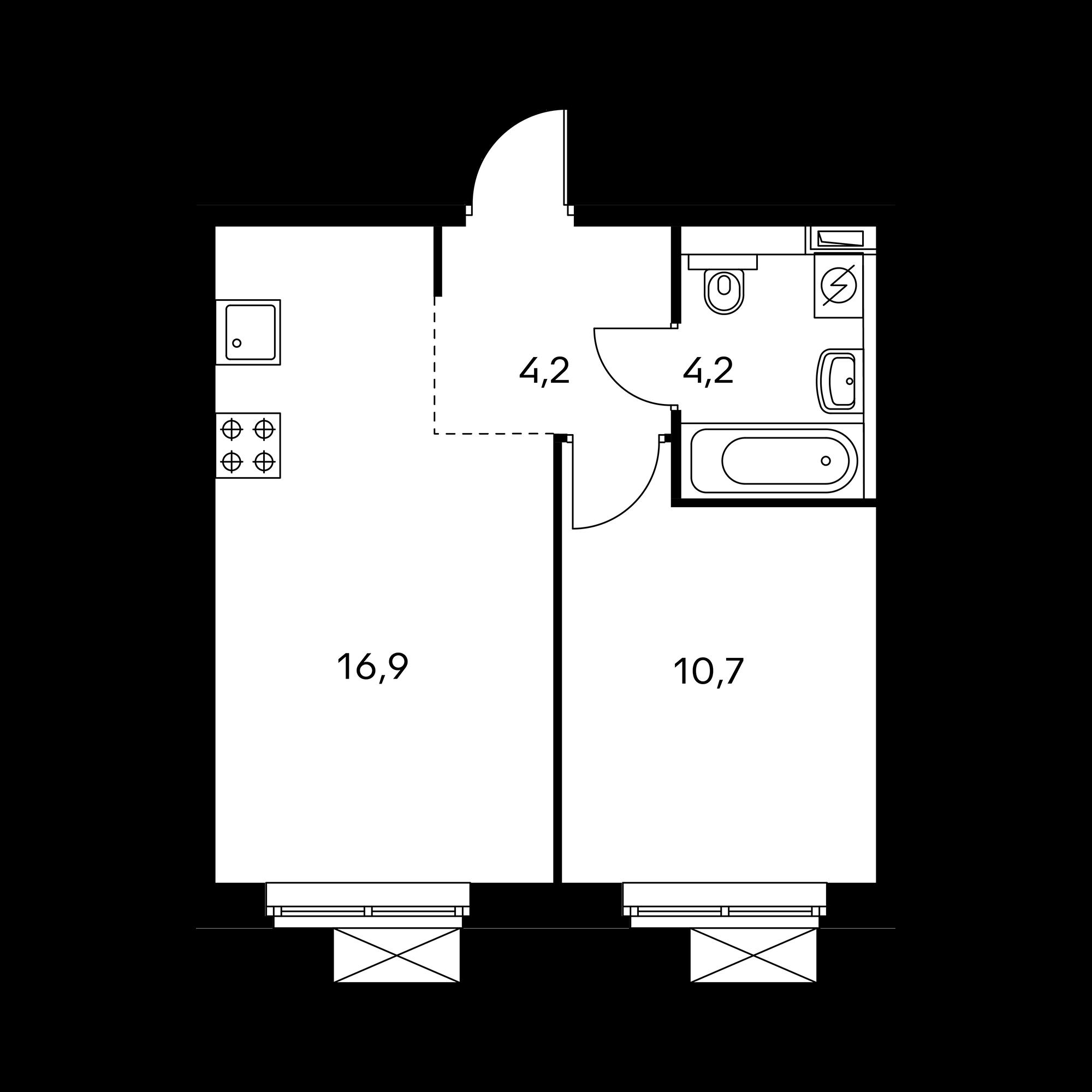 1-комнатная 36 м²