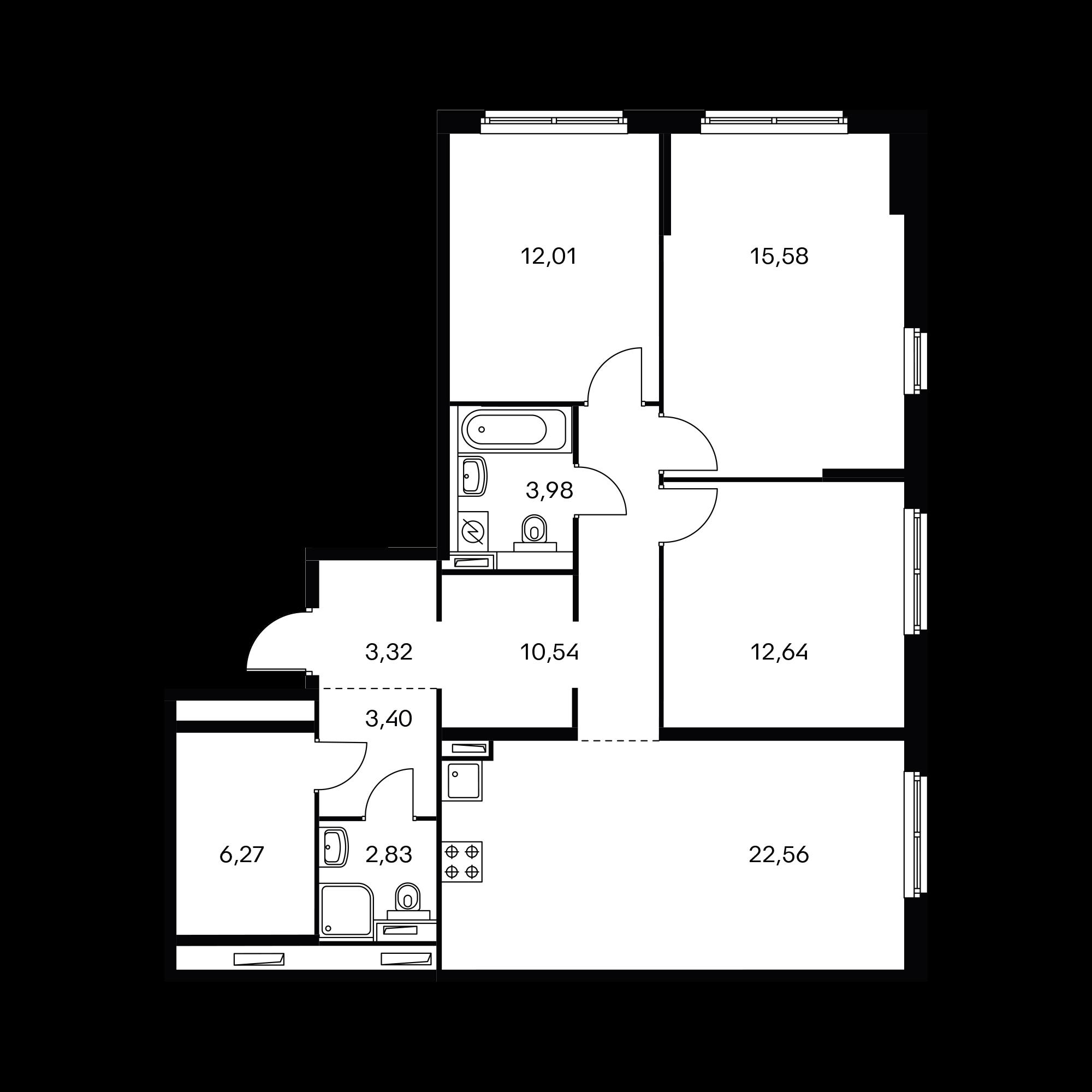 3-комнатная 94.13 м²