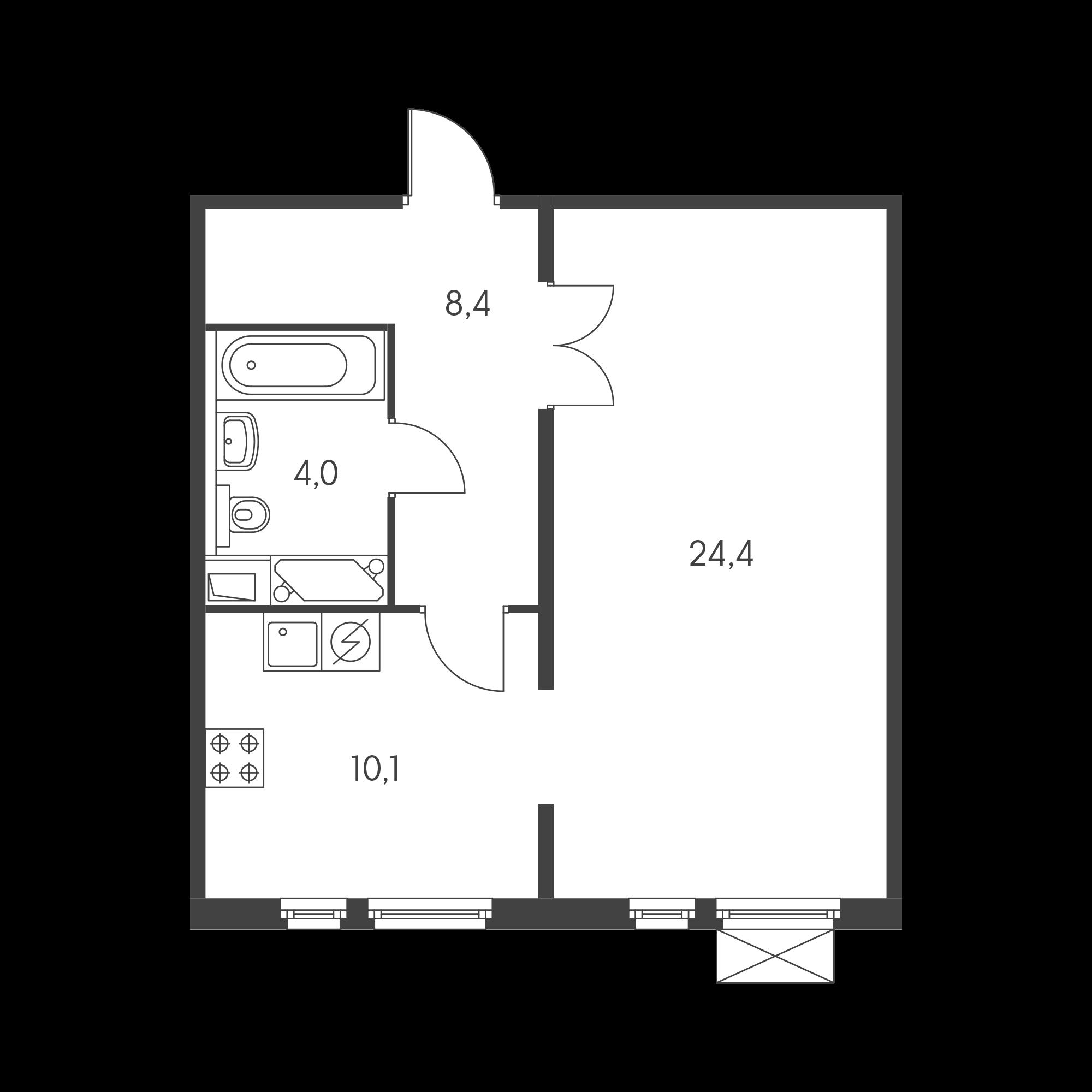 1-комнатная 46.5 м²