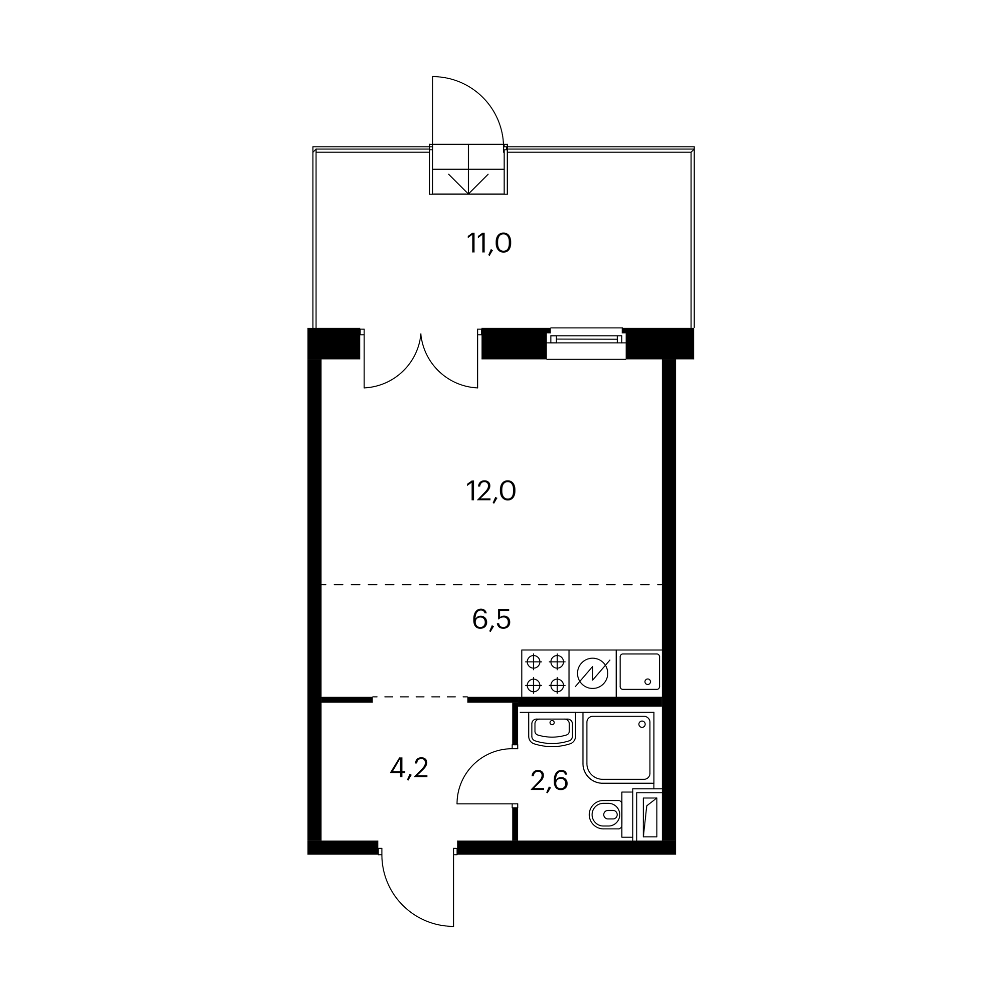 Студия 28.6  м²