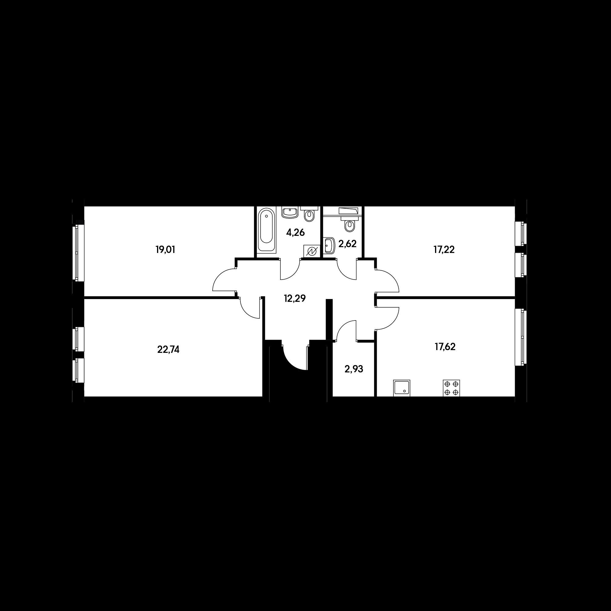 3-комнатная 98.69 м²