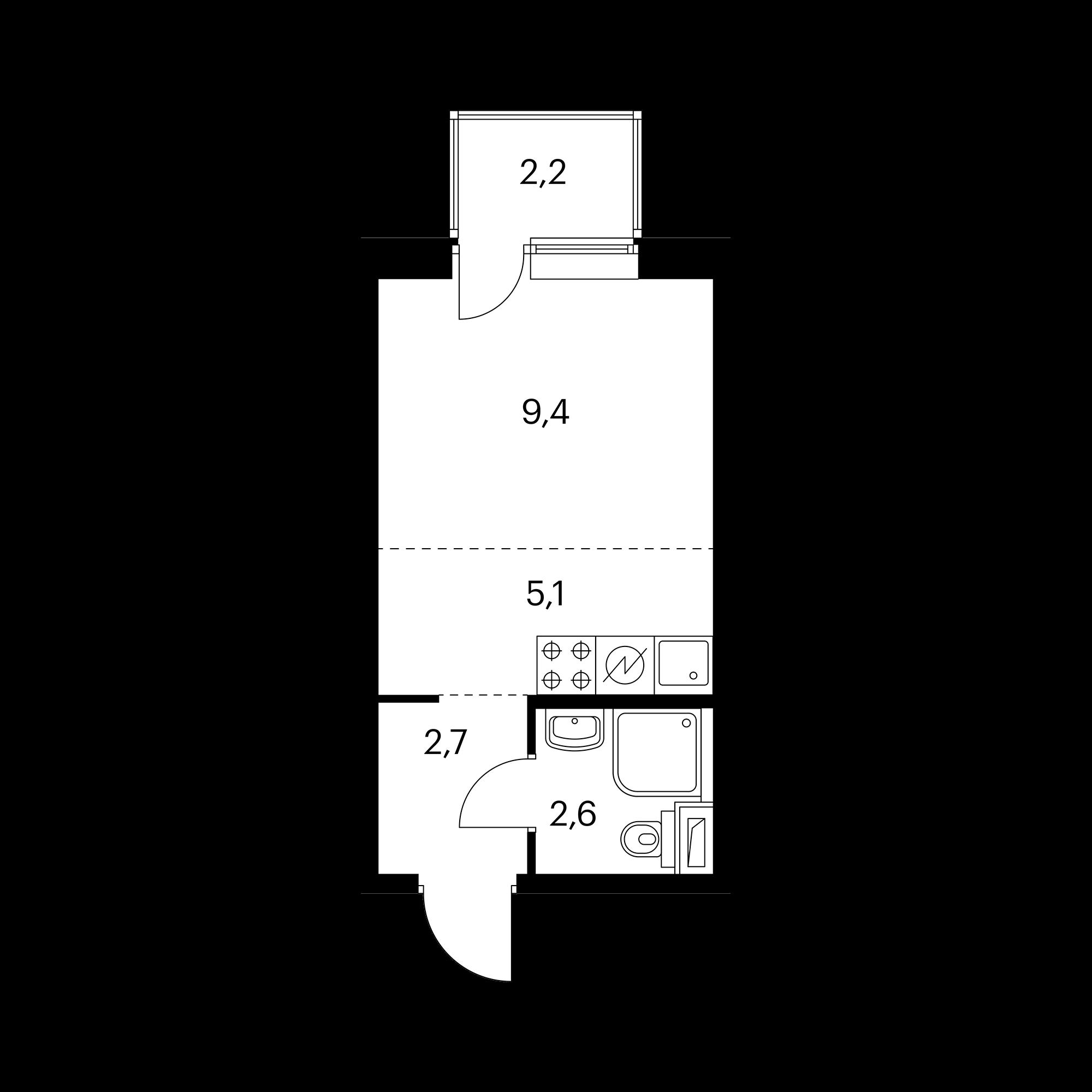 Студия 20.5 м²