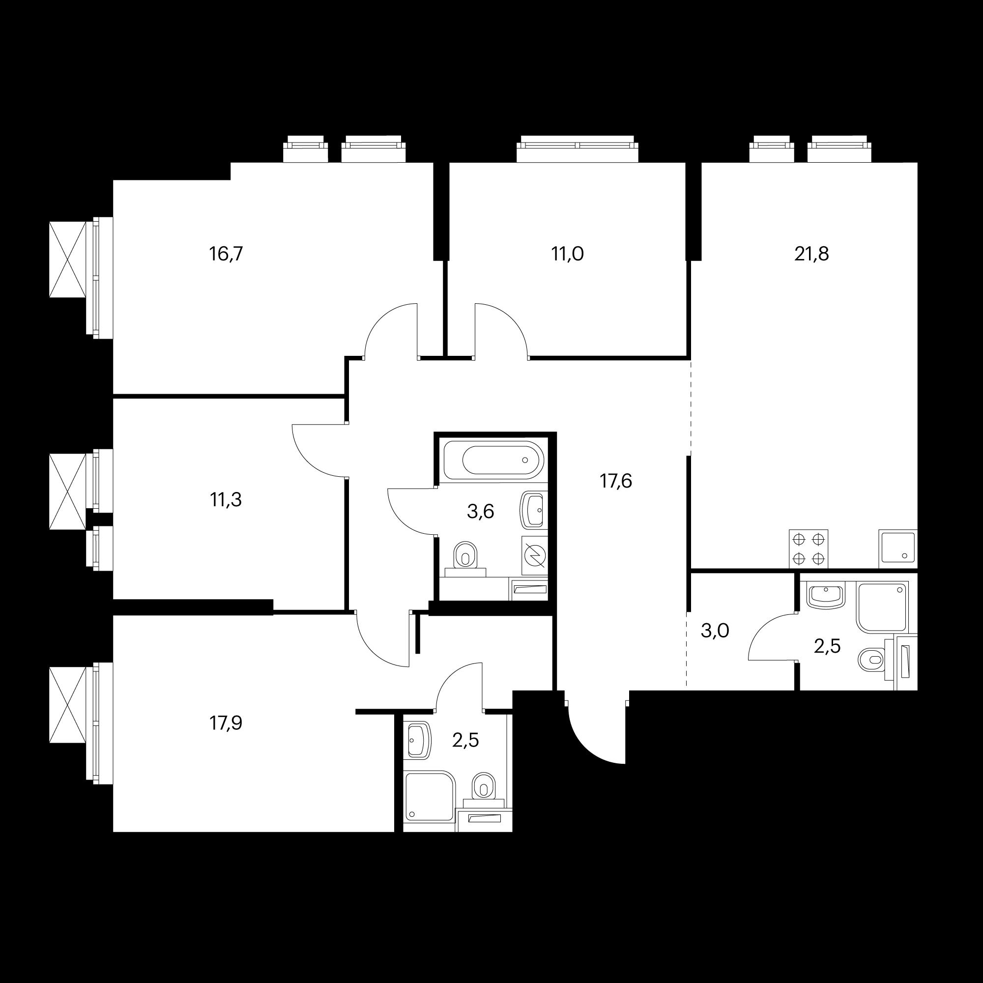 4-комнатная 107.9 м²