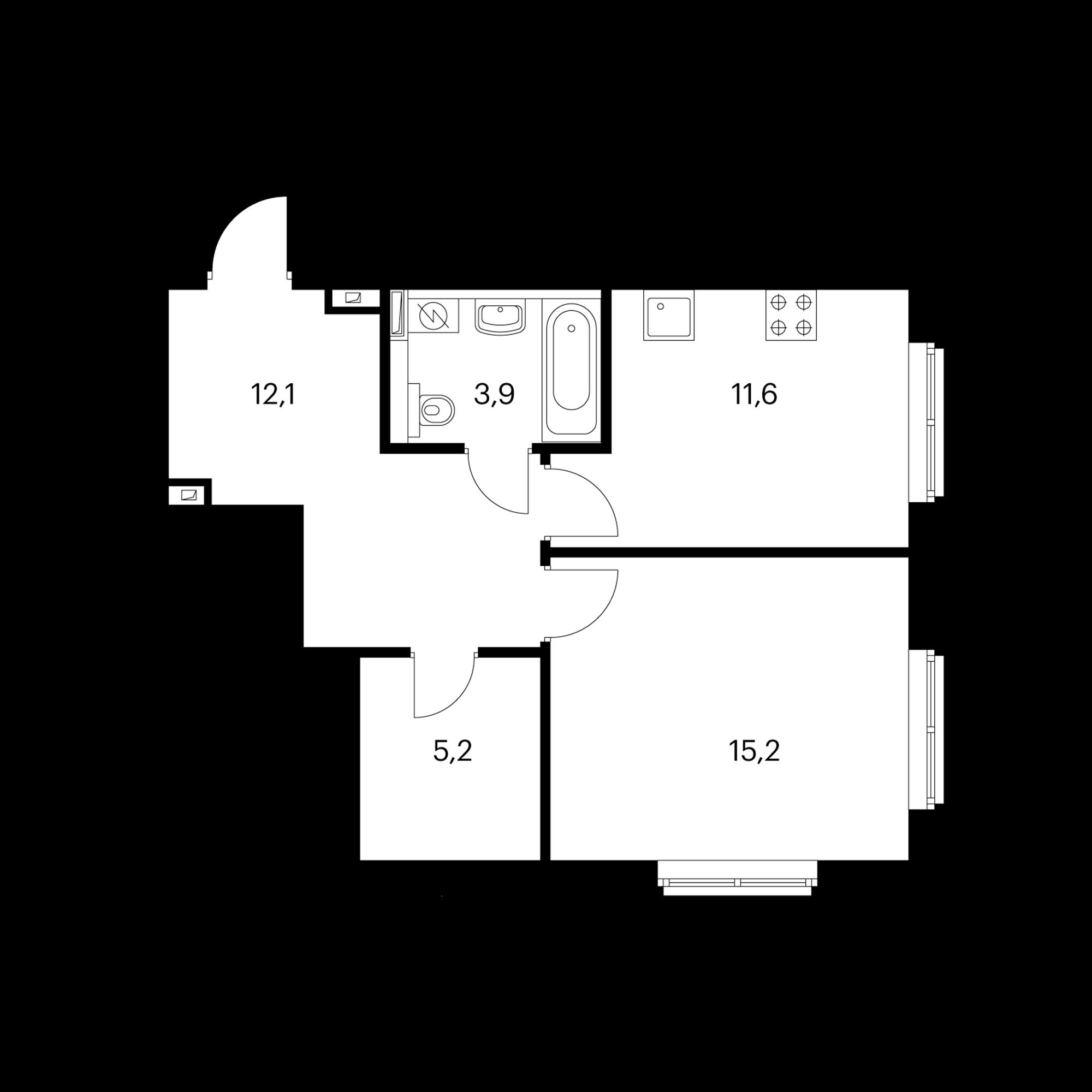 1-комнатная 48 м²