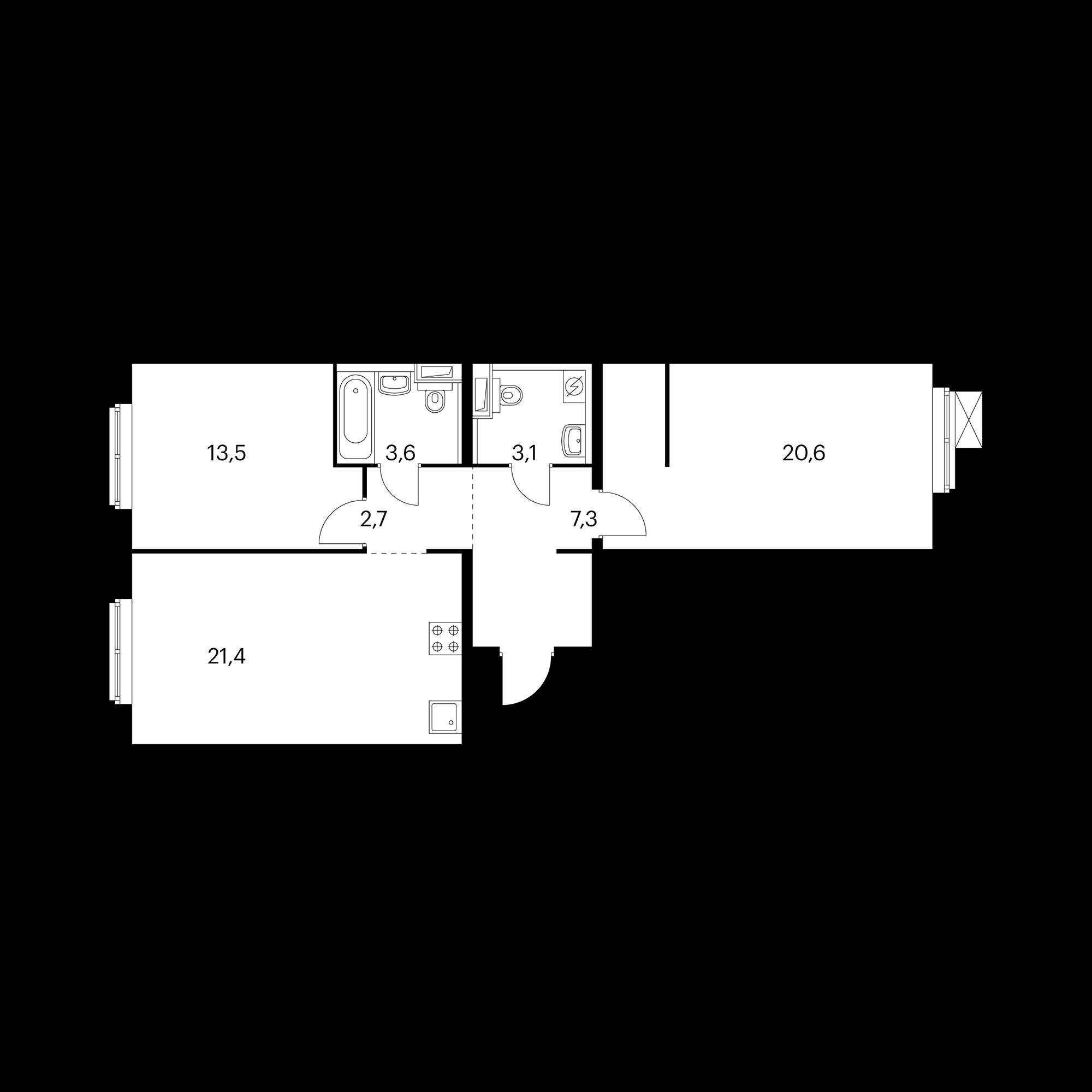 2-комнатная 72  м²