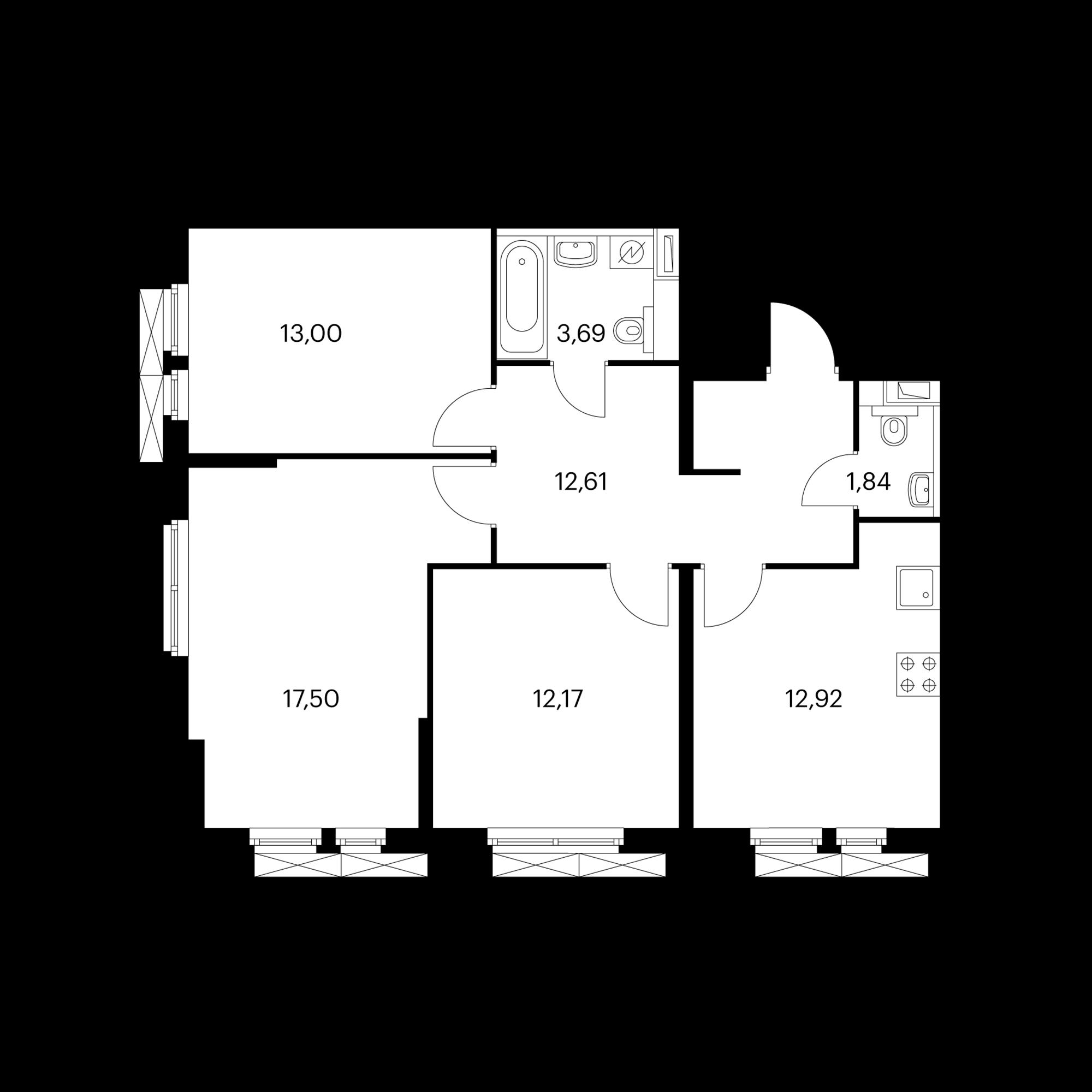 3-комнатная 73.81 м²