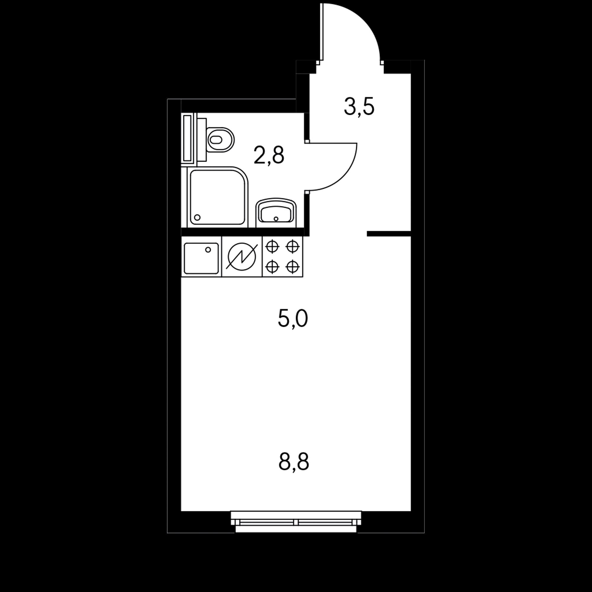 Студия 21.3  м²