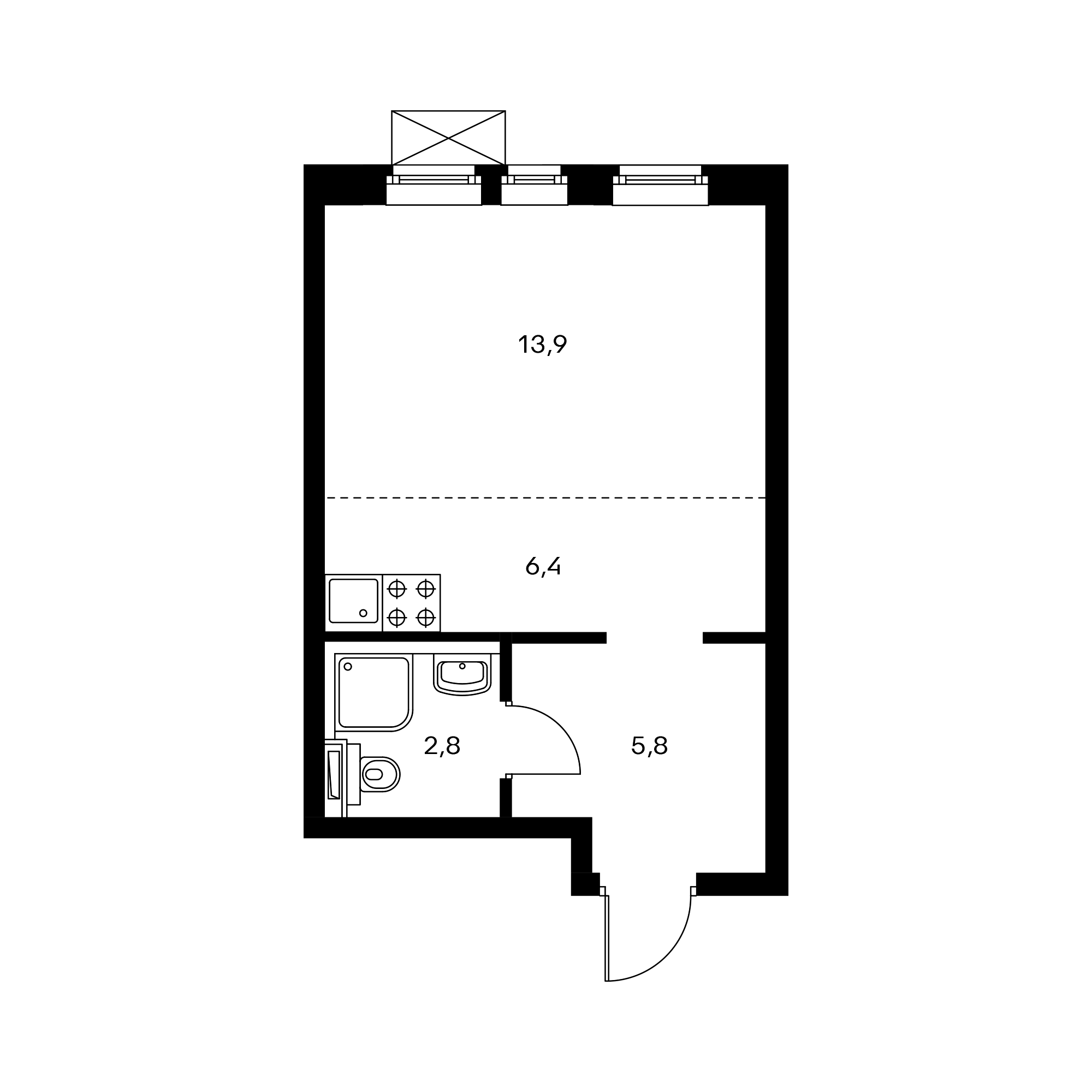 Студия 28.9 м²