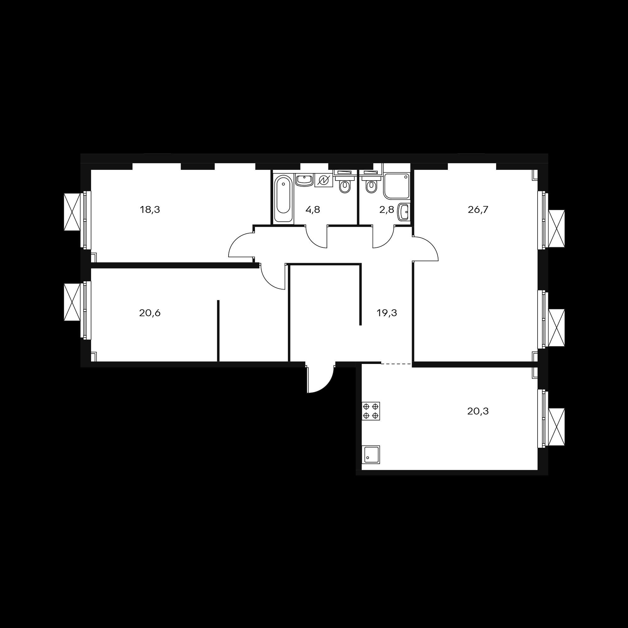3-комнатная 112.8 м²