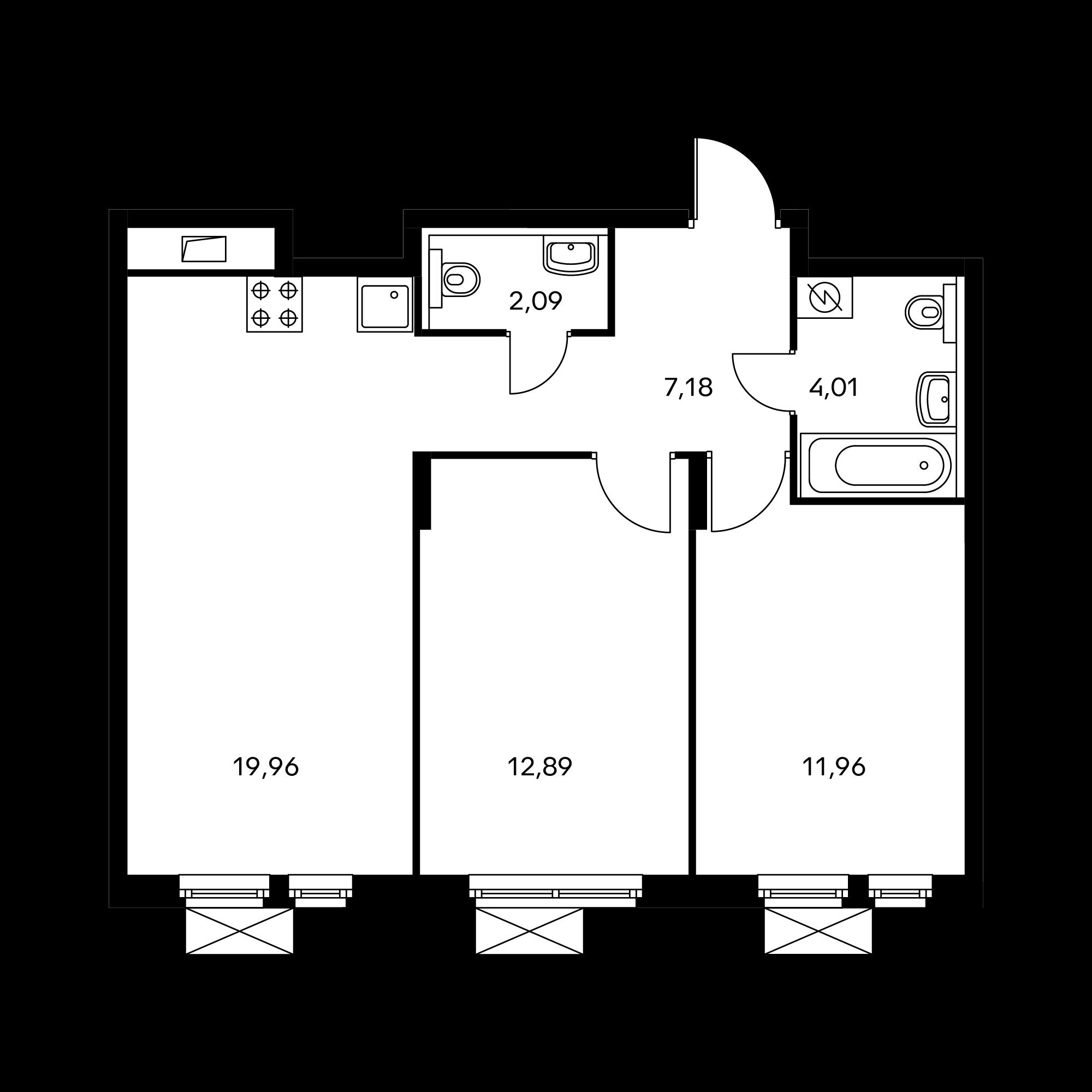2-комнатная 58.44  м²