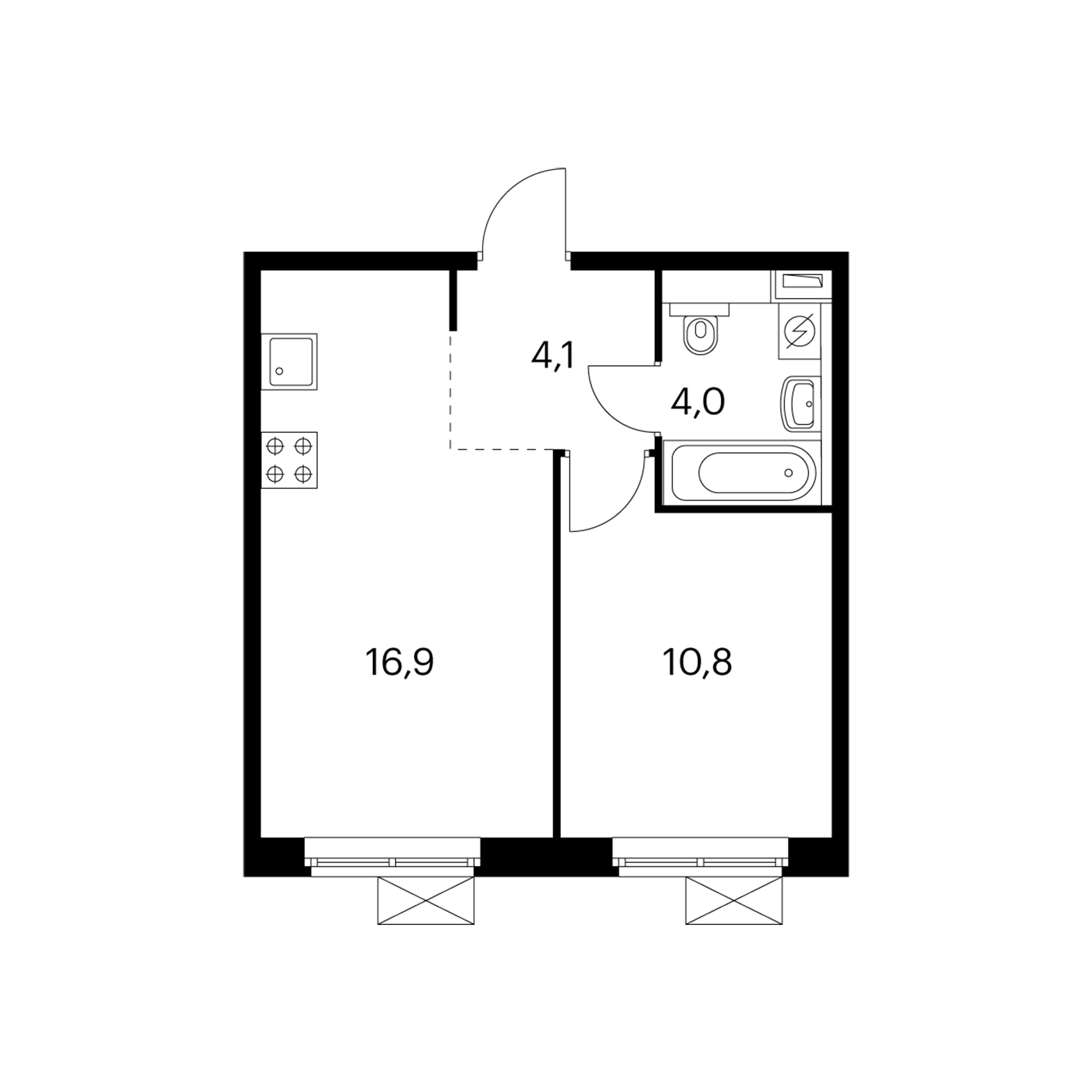 1-комнатная 35.8 м²