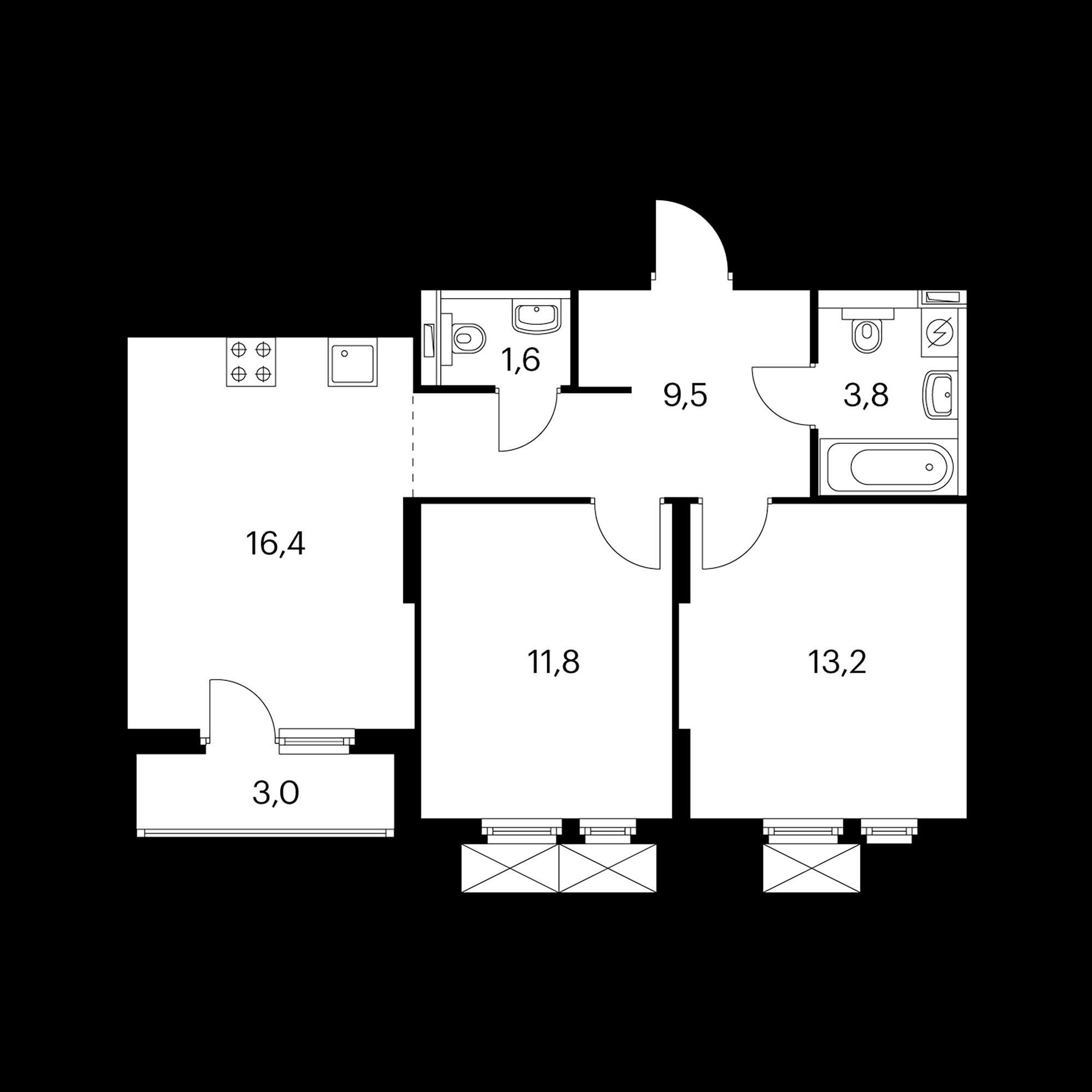 2-комнатная 57.8  м²