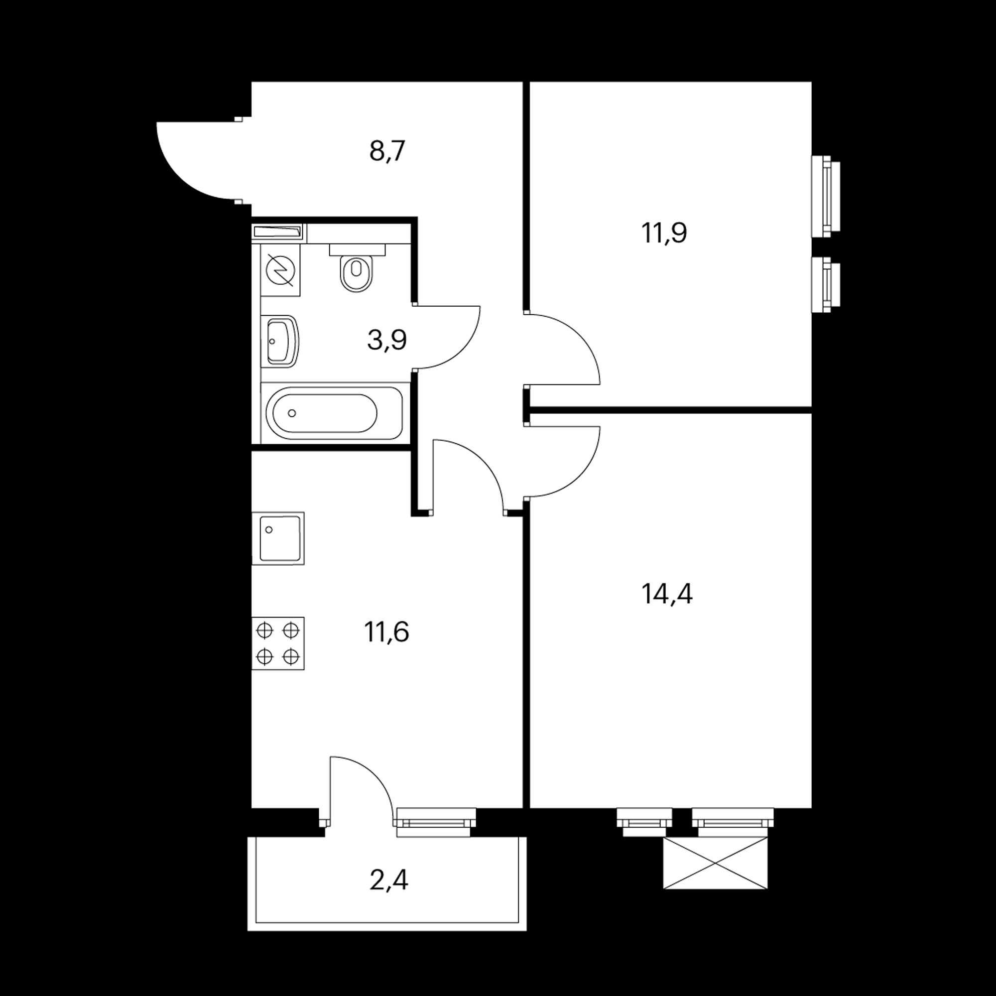 2-комнатная 51.3 м²