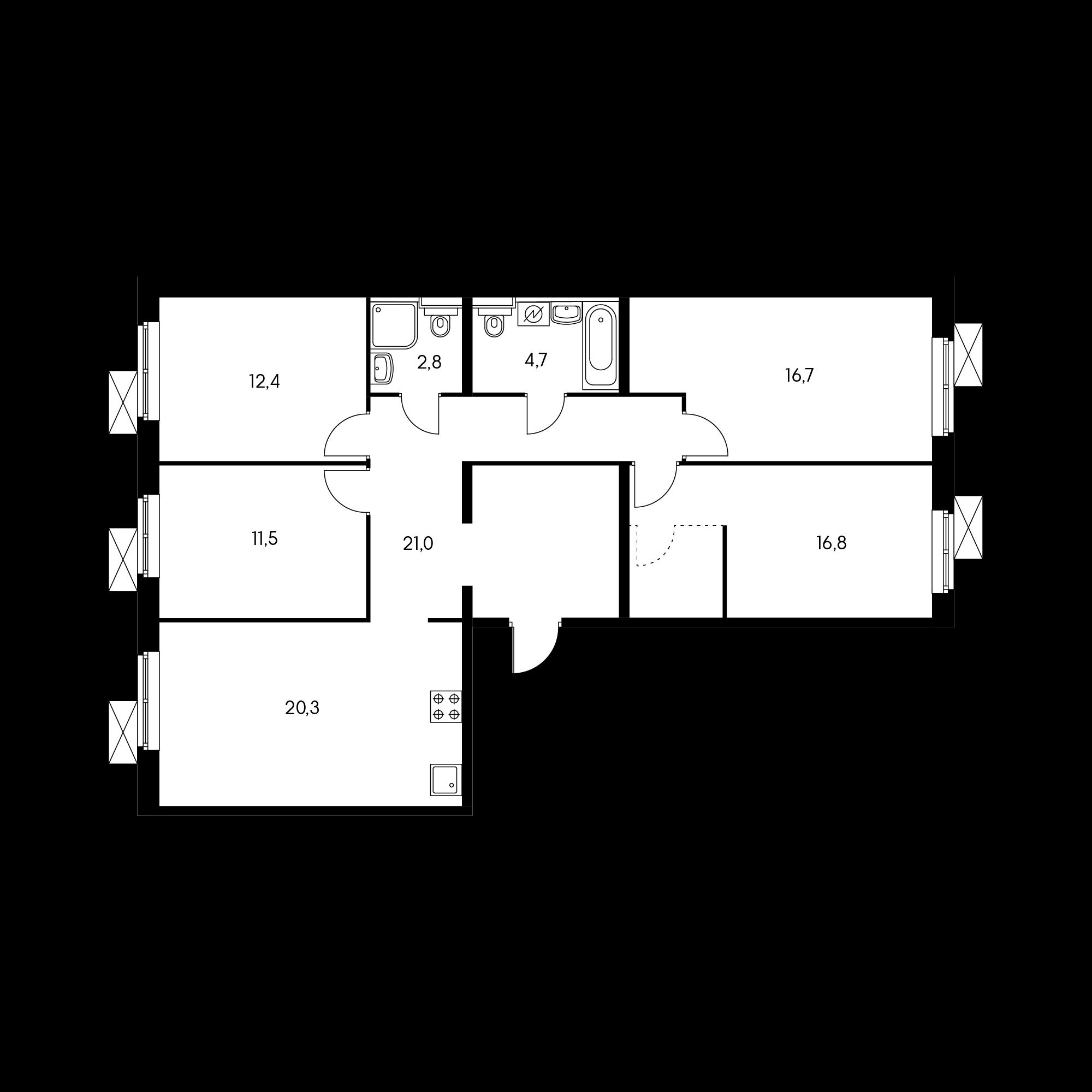 4-комнатная 104.8 м²