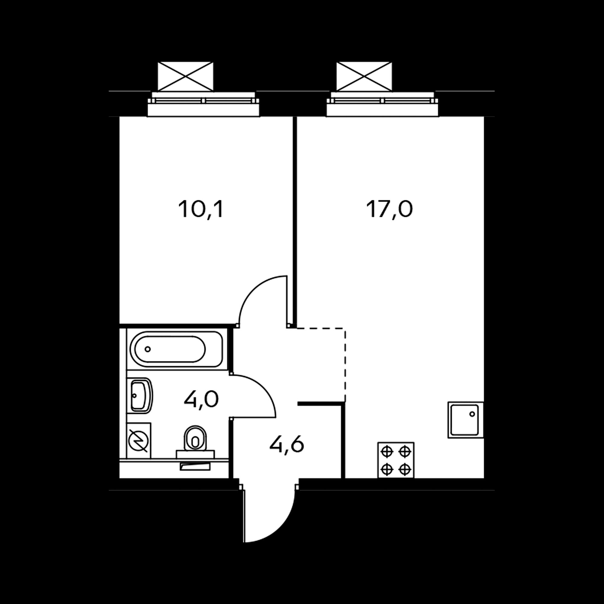1-комнатная 35.9  м²