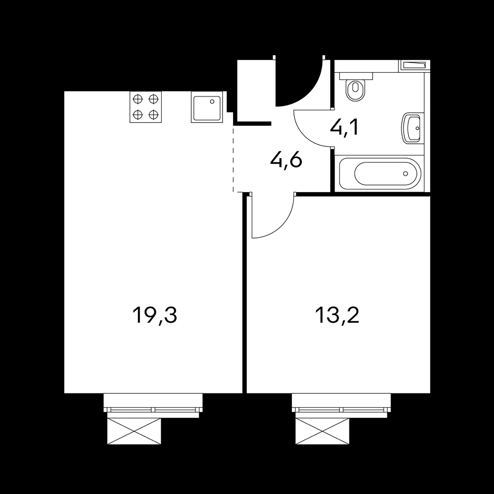 1-комнатные 41.2  м²