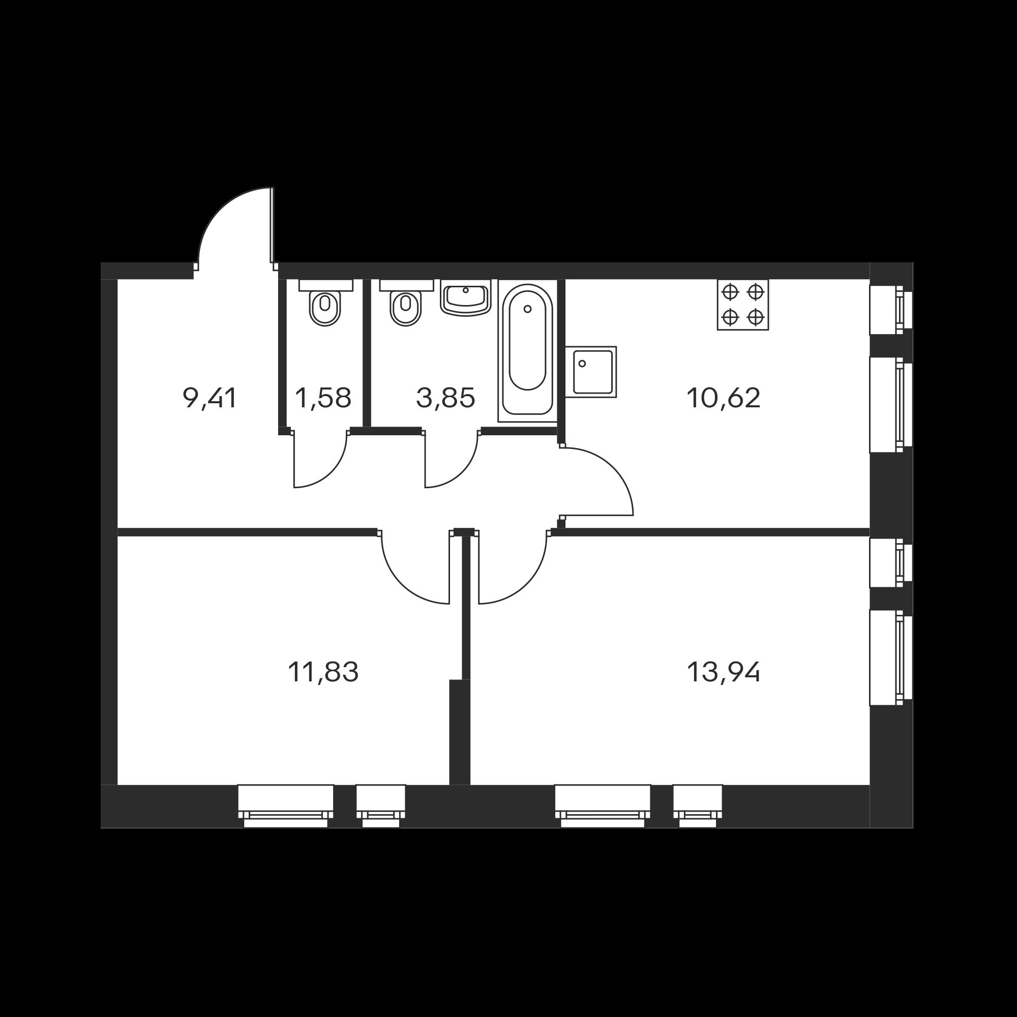 2-комнатная 49.7  м²