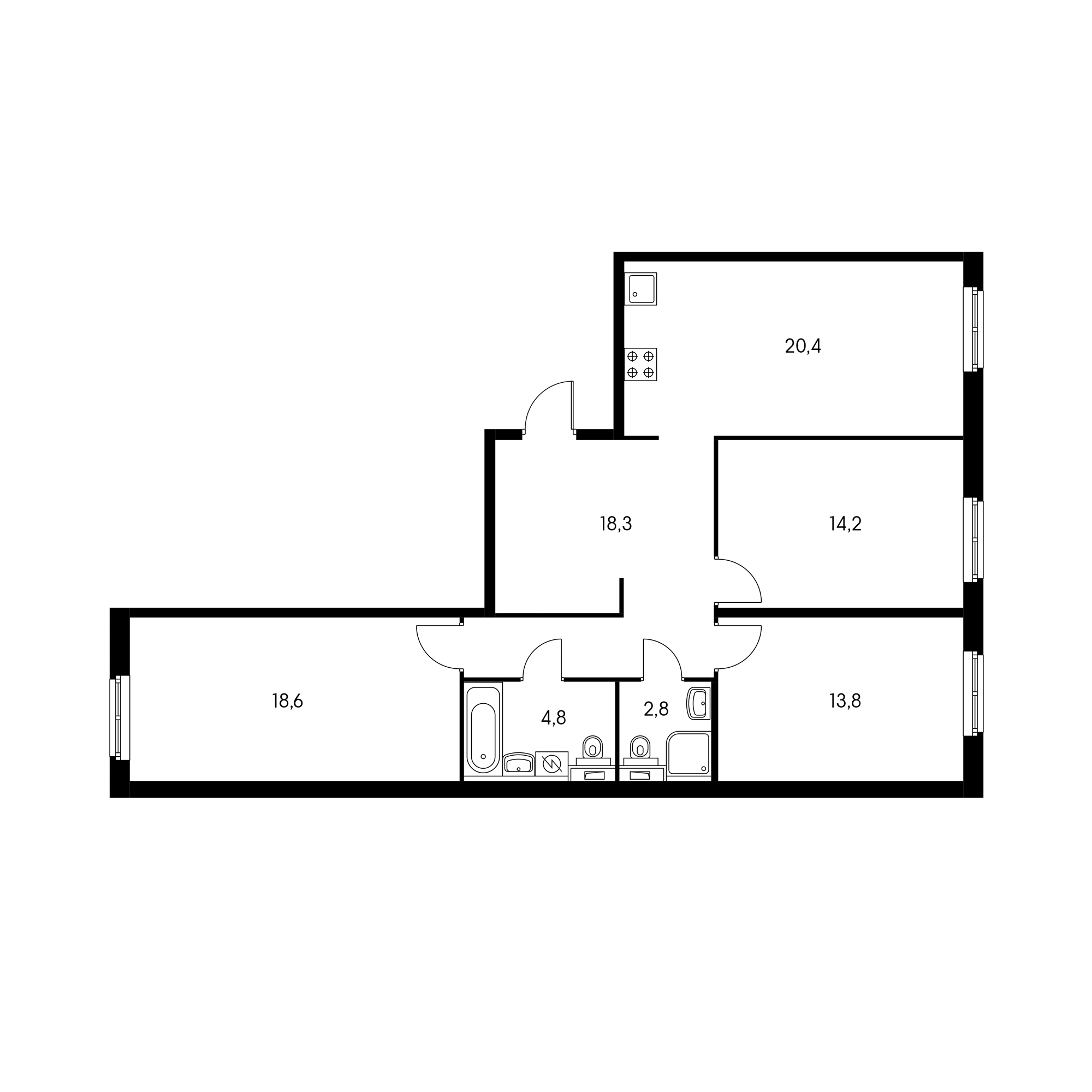 3-комнатная 94 м²