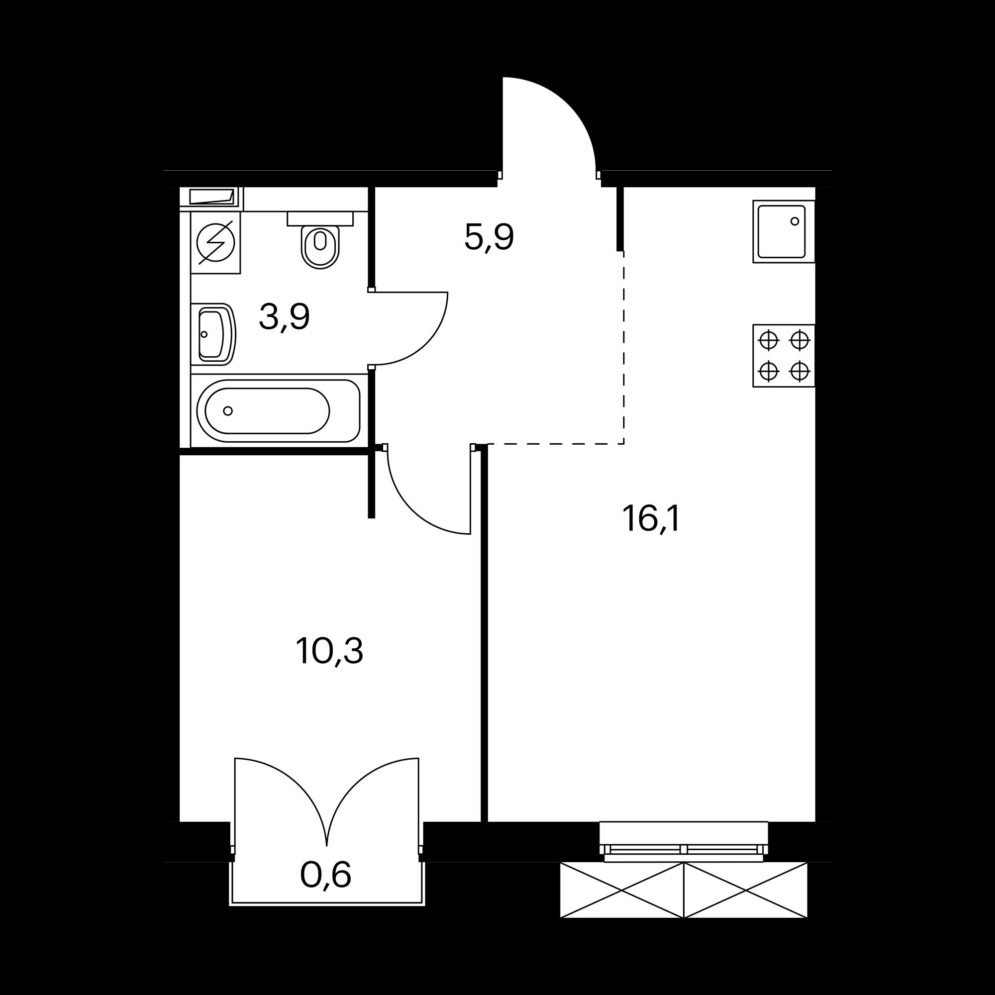 1-комнатная 36.4 м²