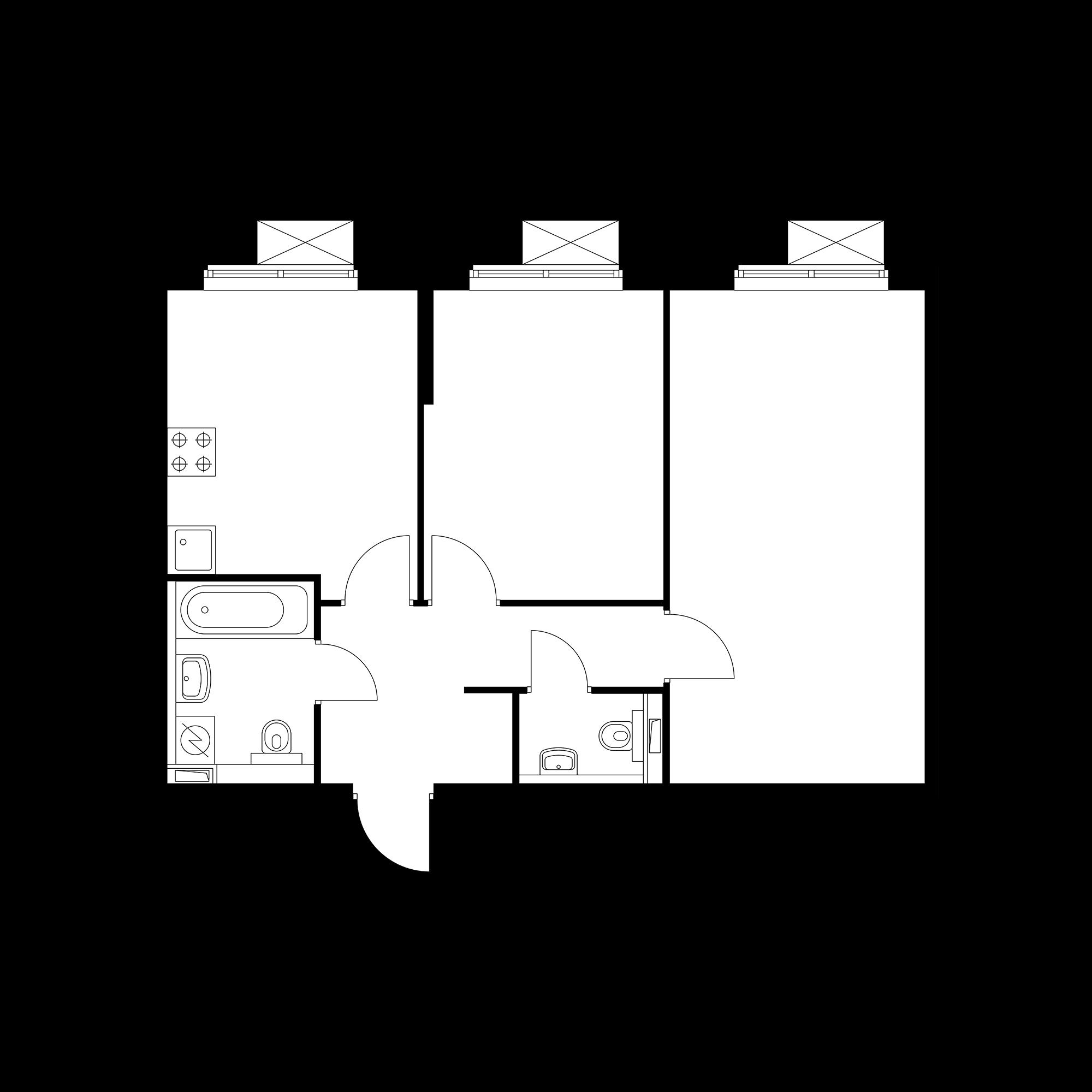 2-комнатная 54.65 м²