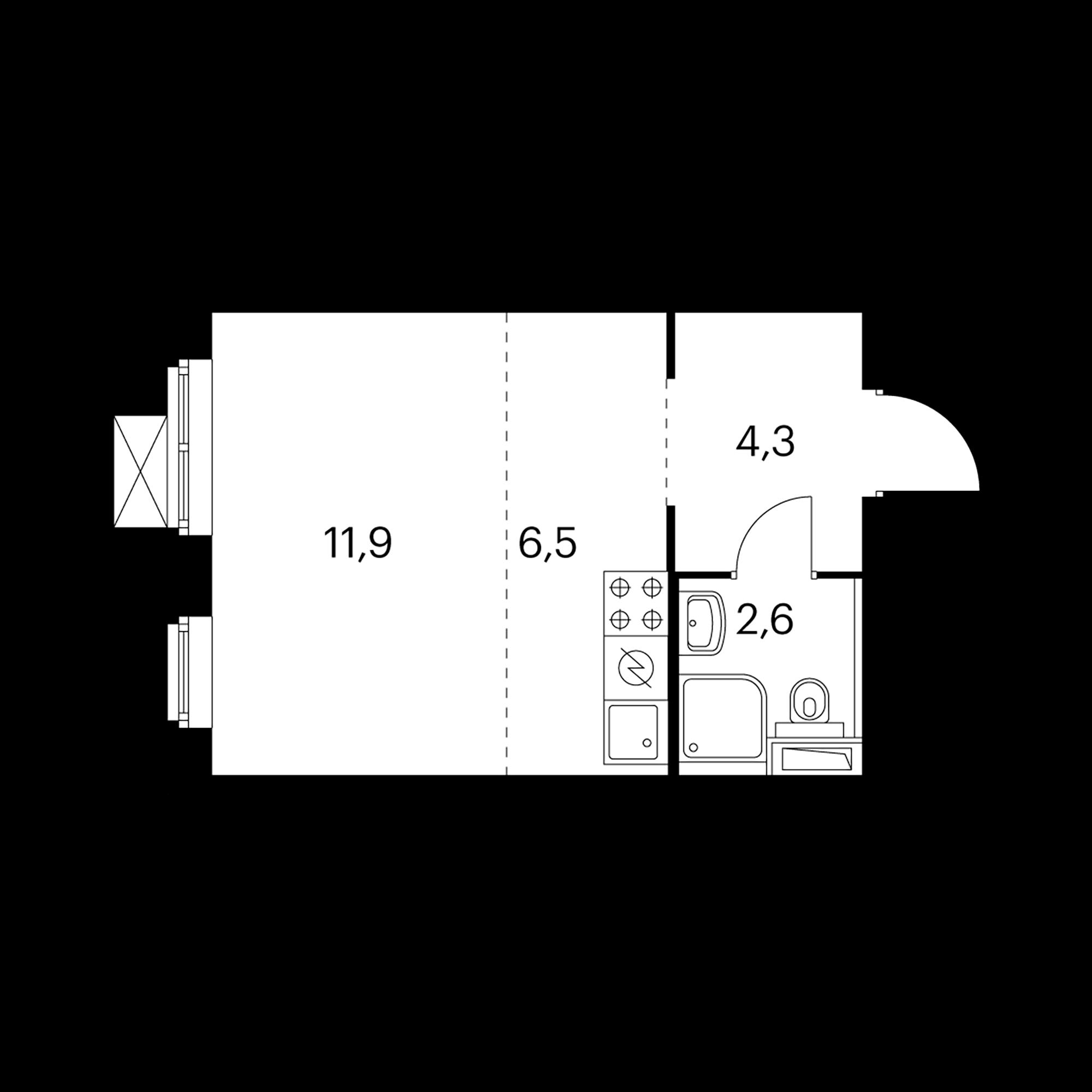 1-комнатная 25.2  м²