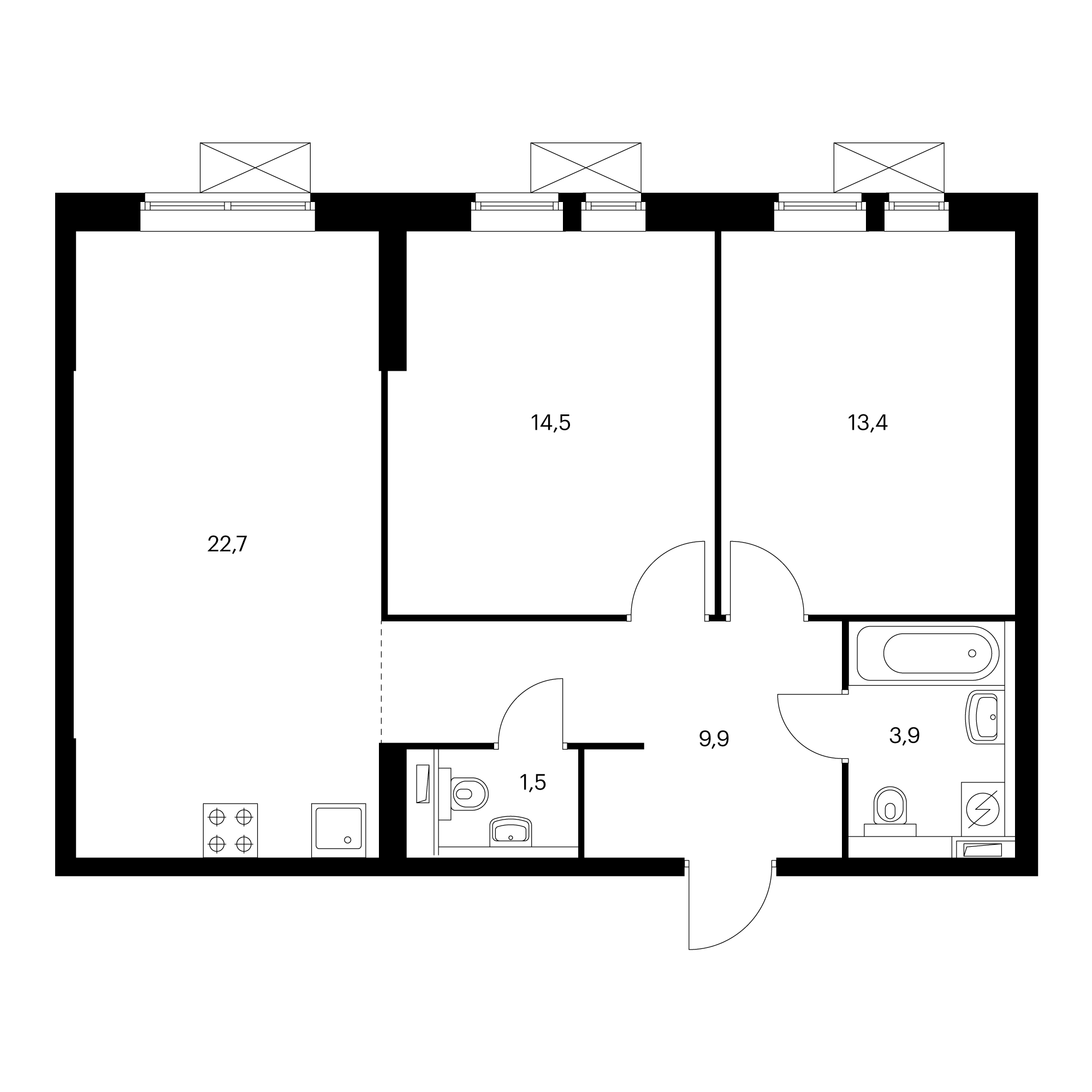 2-комнатная 65.9  м²
