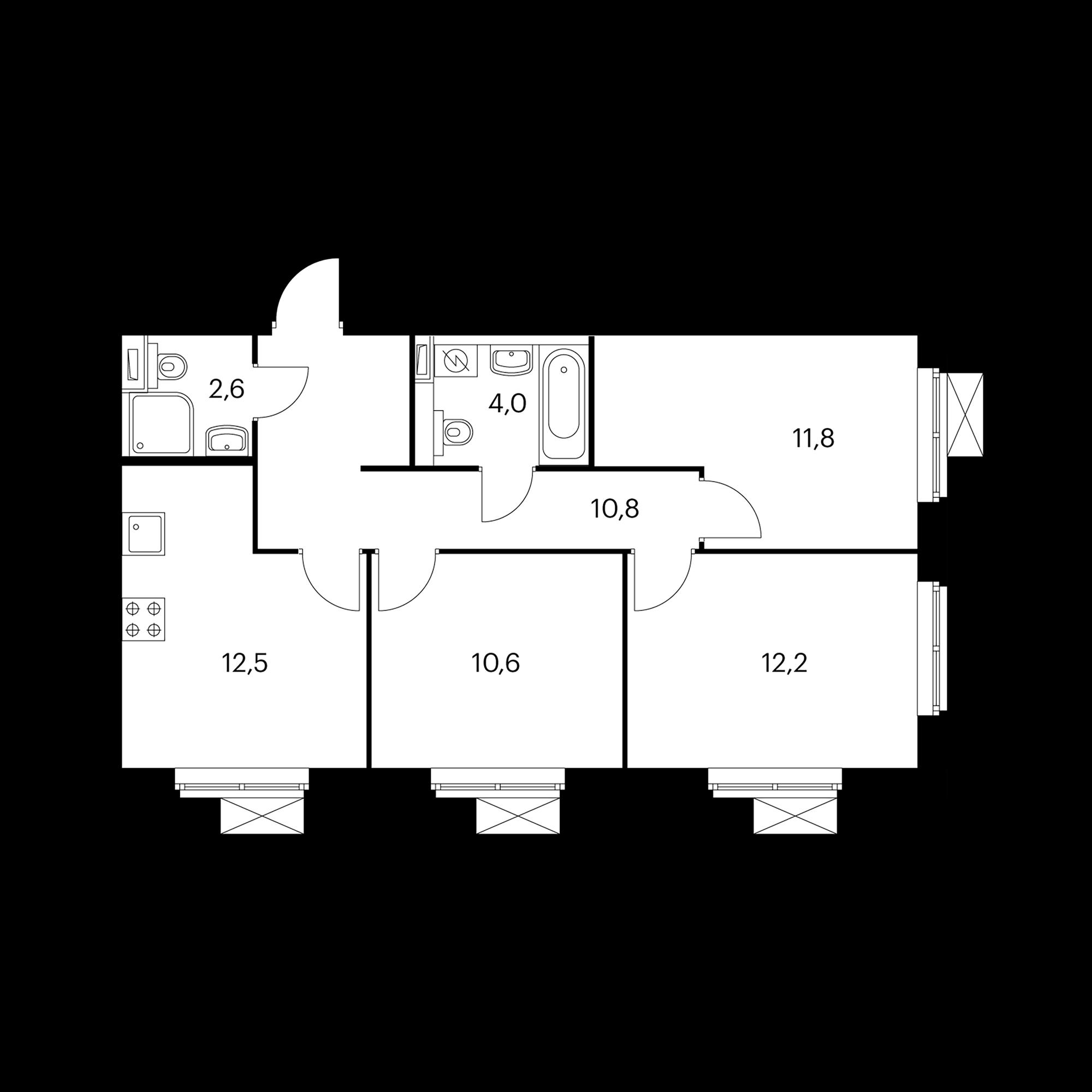 3-комнатная 64.7 м²