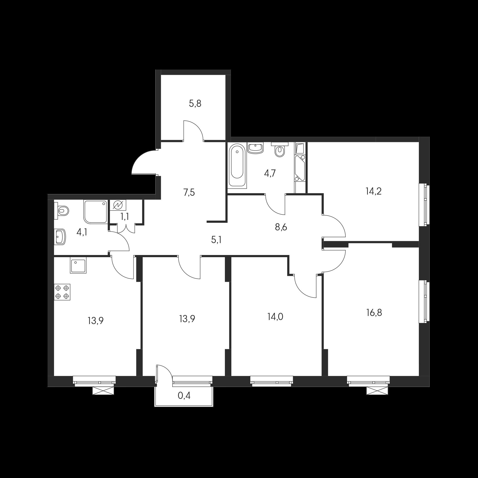 4-комнатная 110.4 м²
