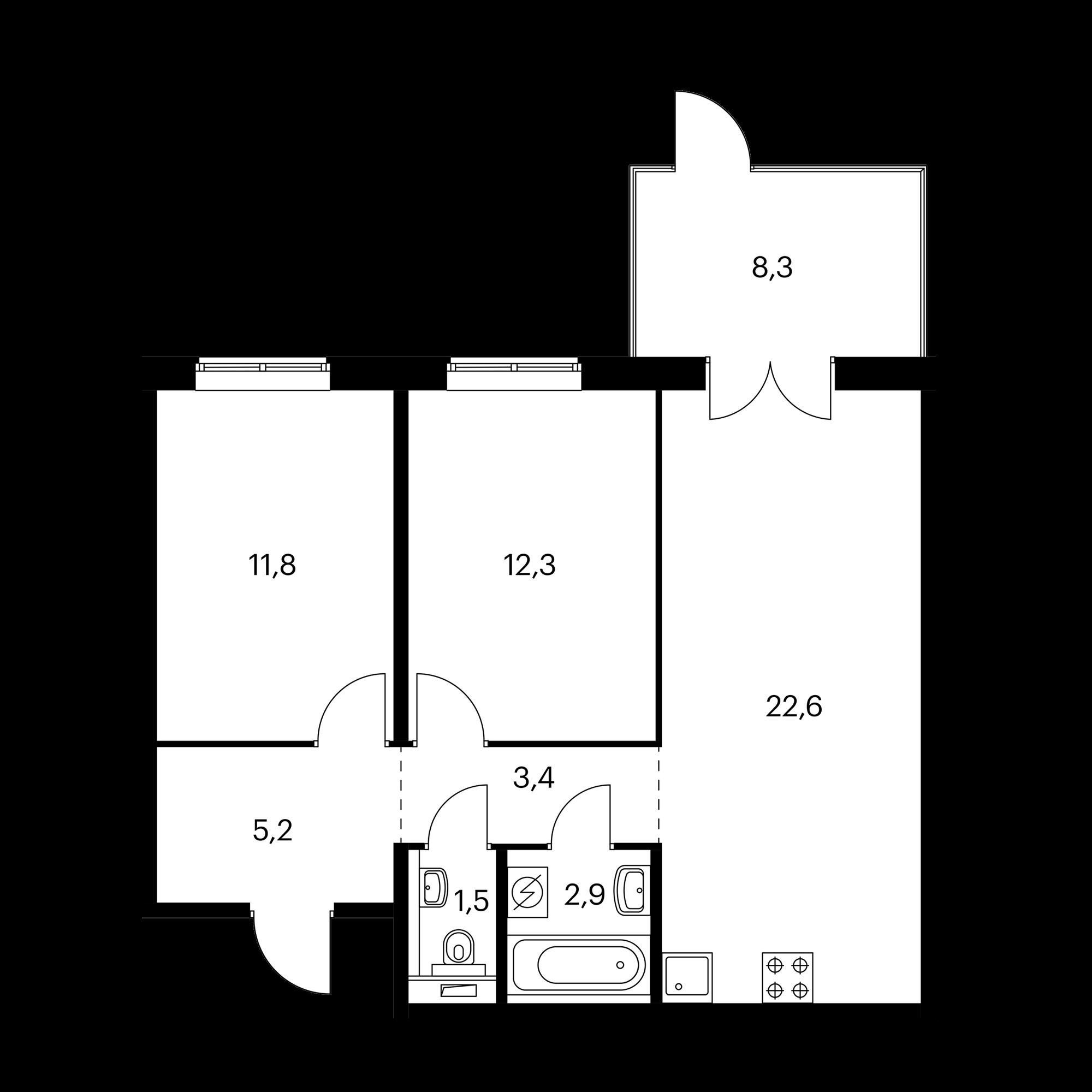 2-комнатная 62.3 м²