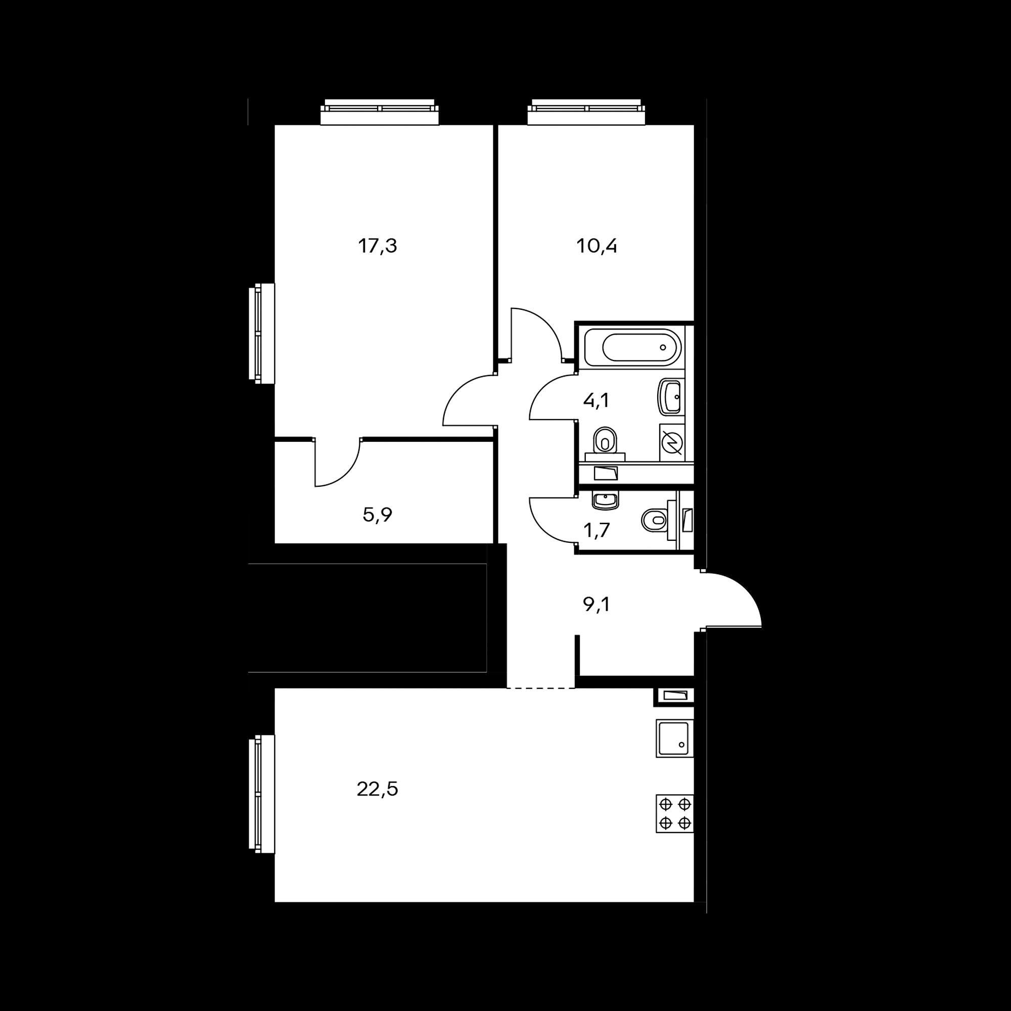 2-комнатная 71.3 м²