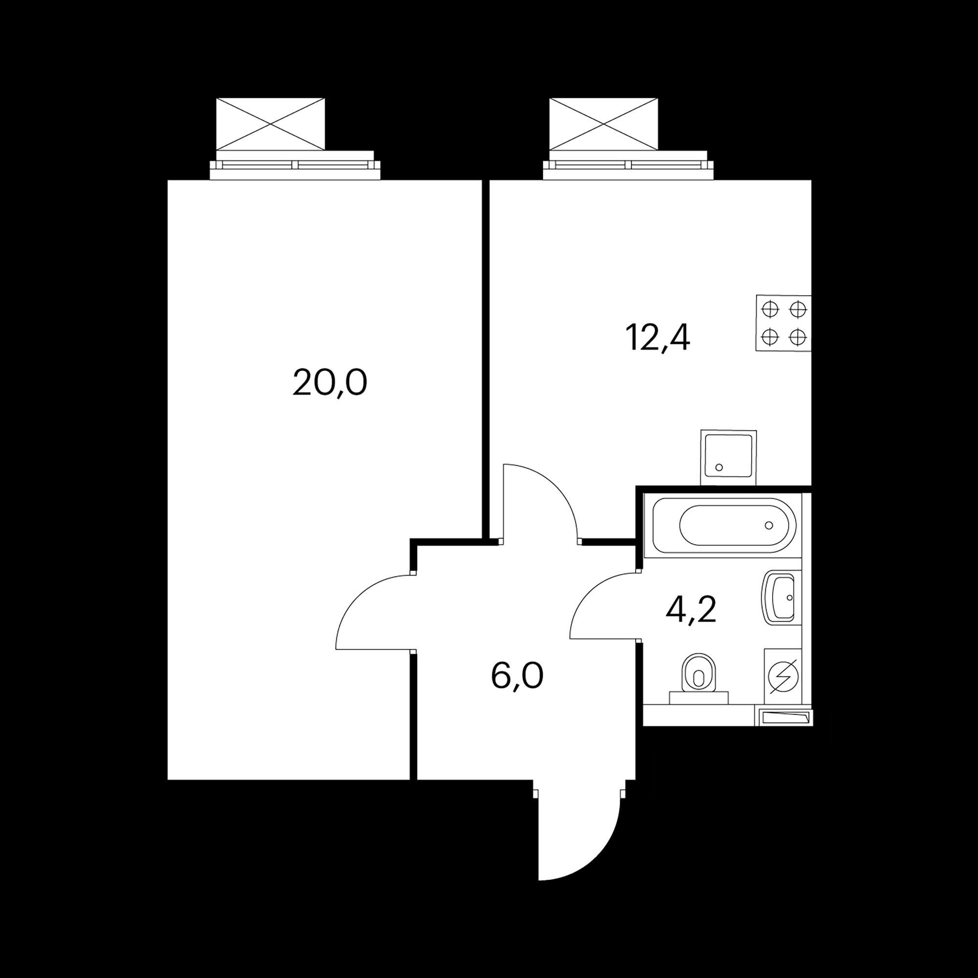 1-комнатная 42.8 м²