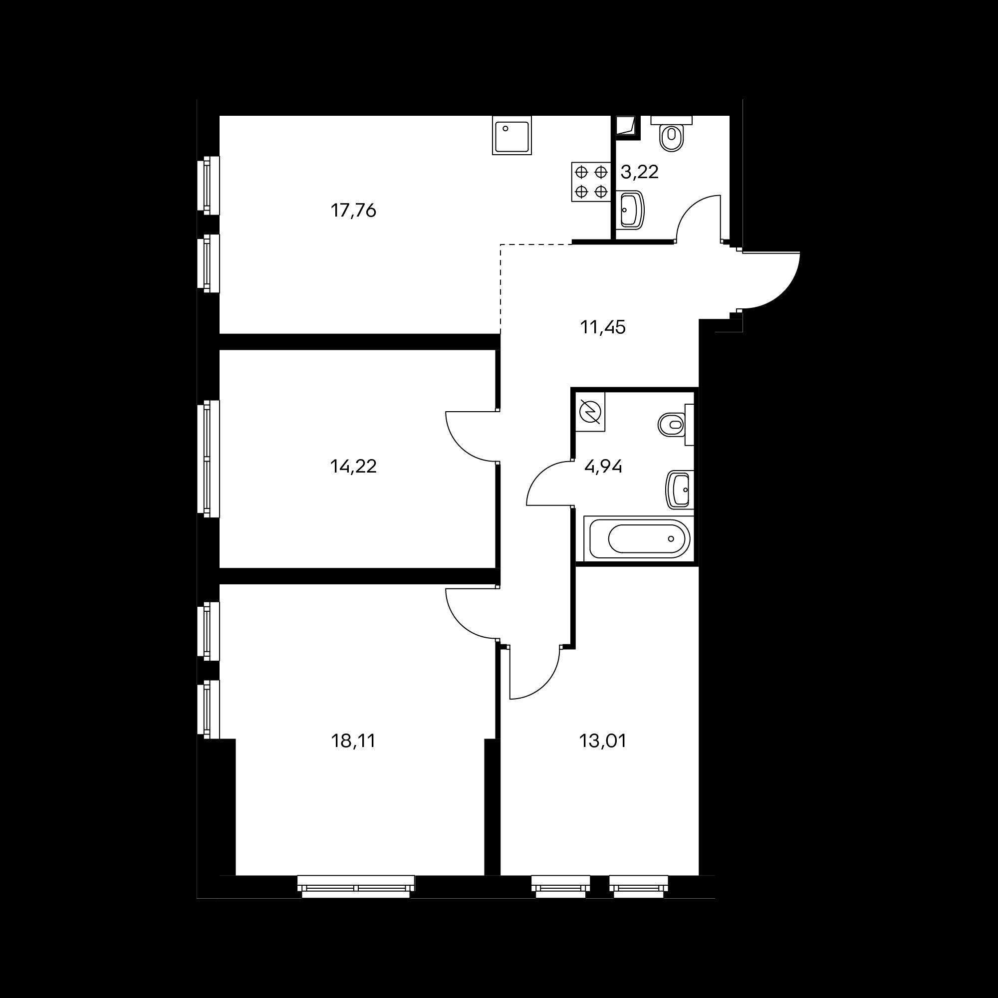 3-комнатная 82.71 м²