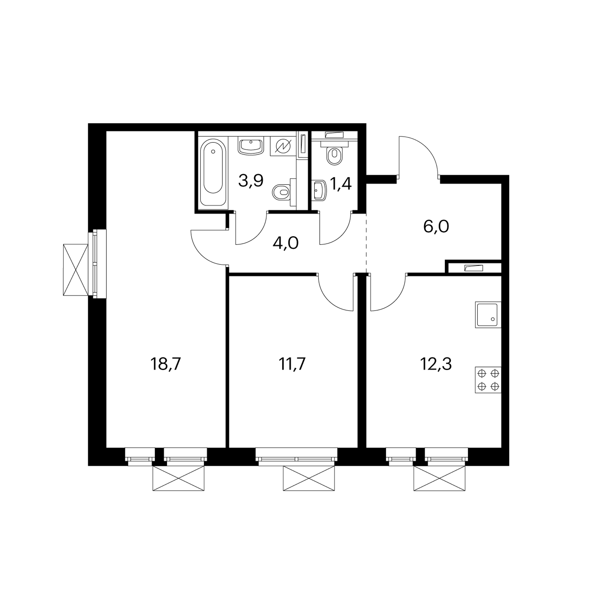 2-комнатная 58 м²