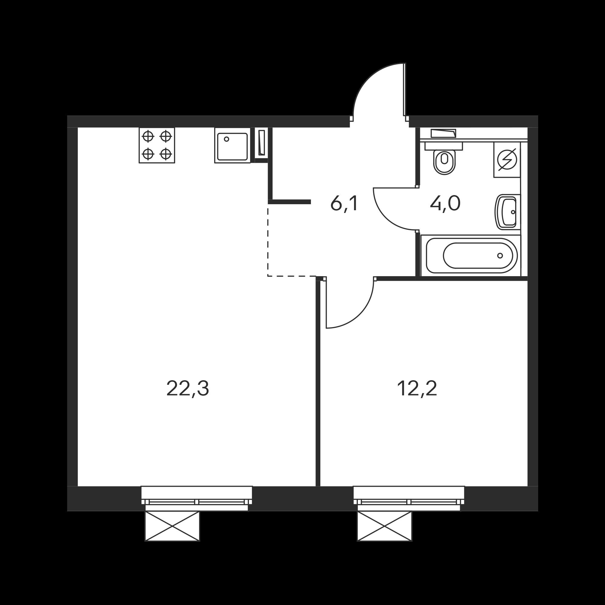 1-комнатная 44.6 м²