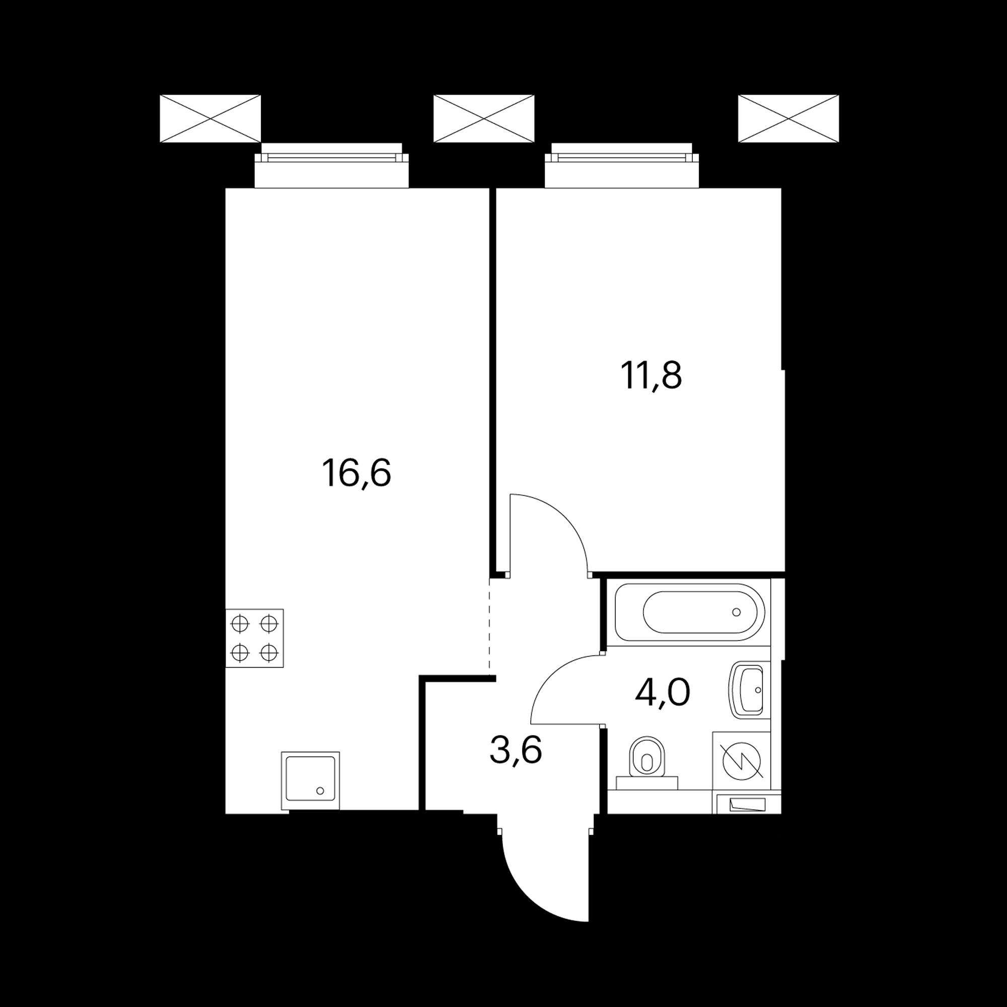 1-комнатные 36  м²