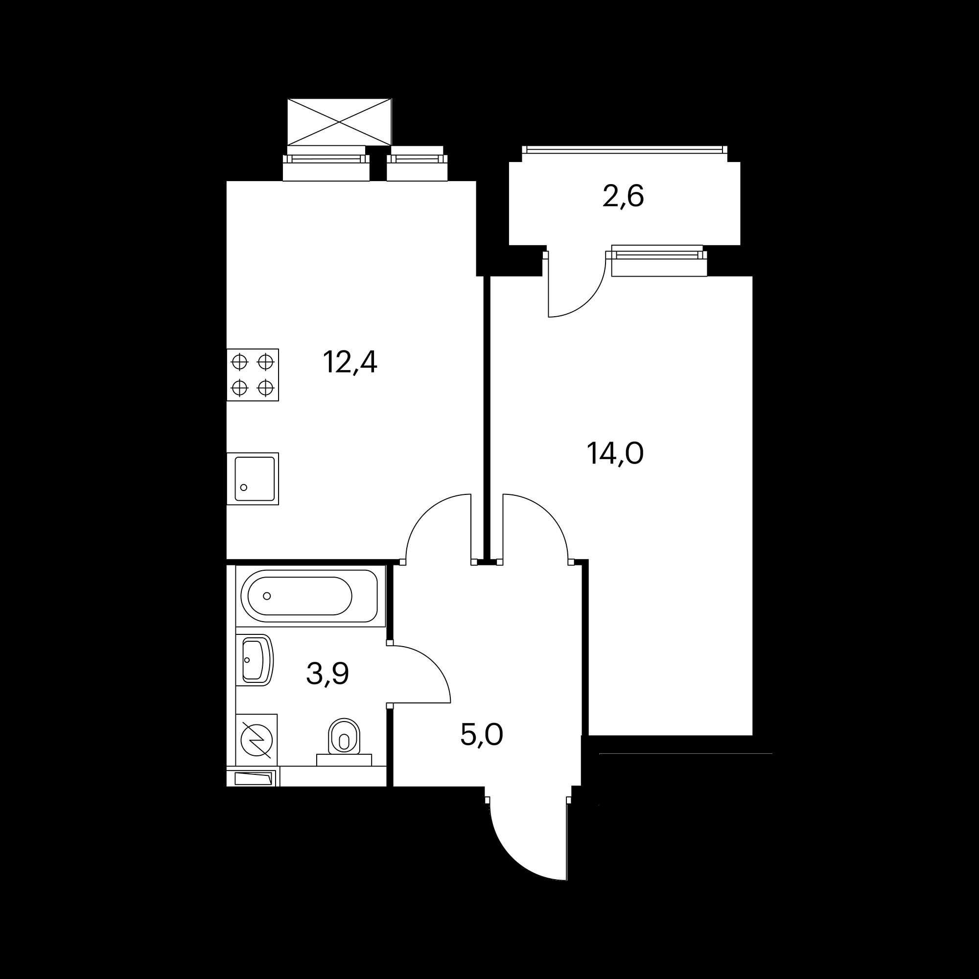 1-комнатная 36.6  м²
