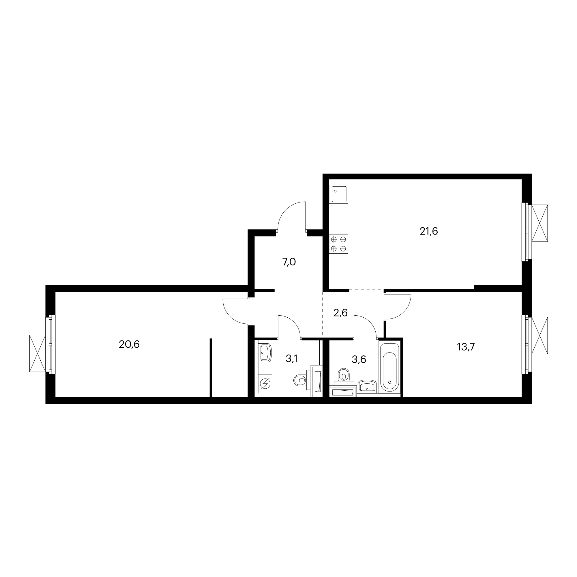 2-комнатная 72.5 м²
