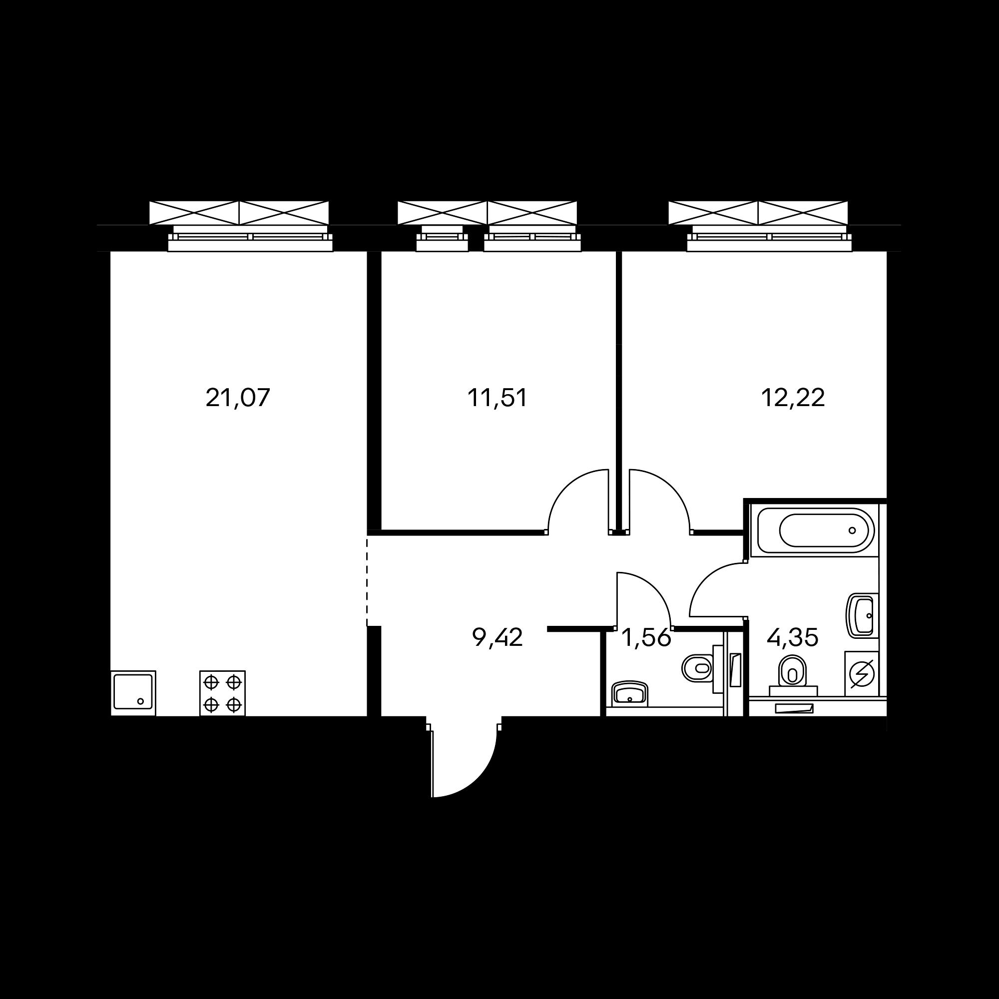 2-комнатная 60.13  м²