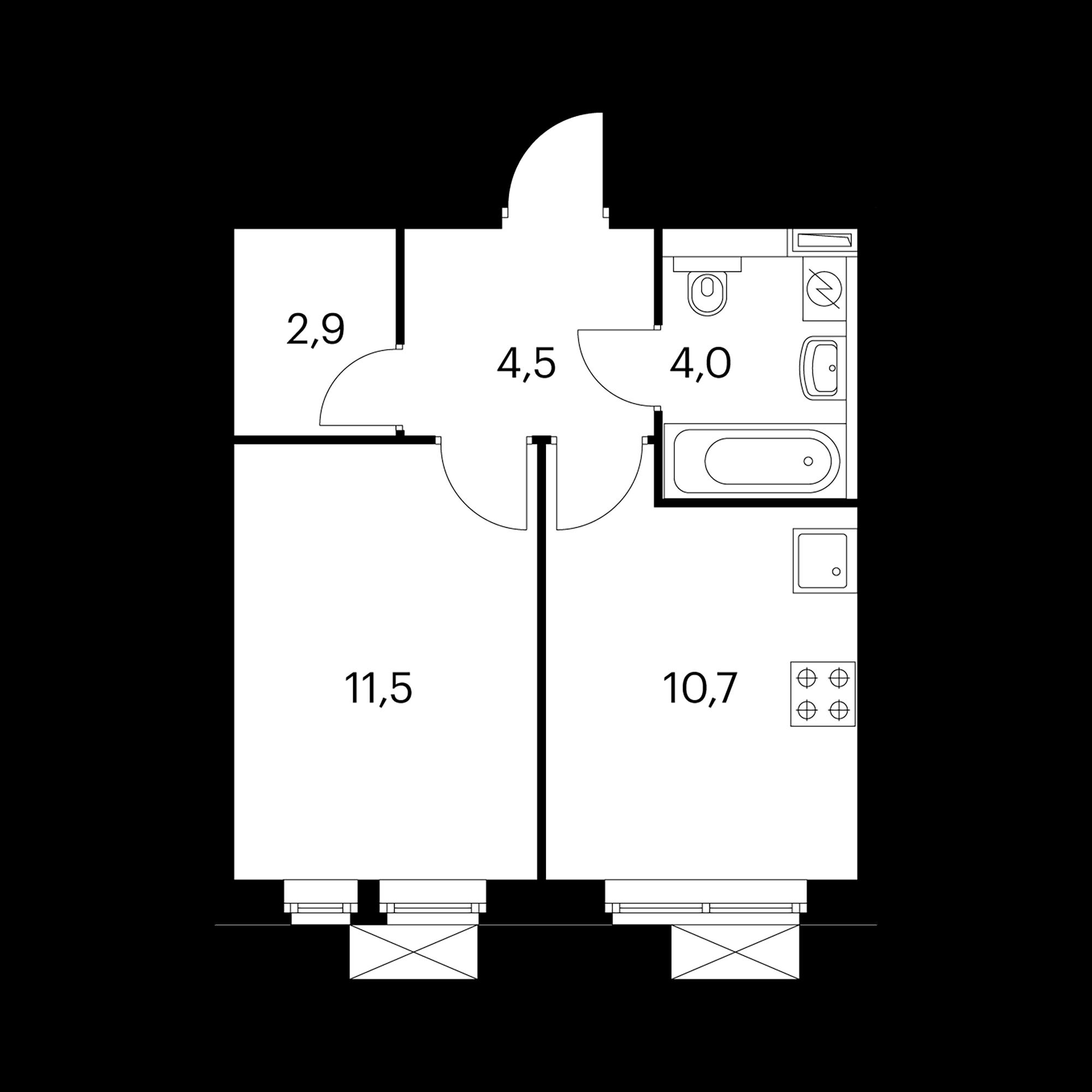 1-комнатная 33.6  м²