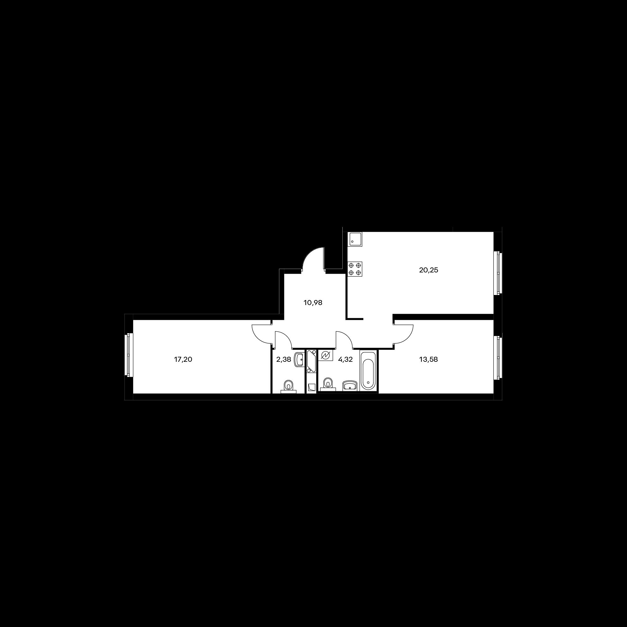 2-комнатная 68.7 м²