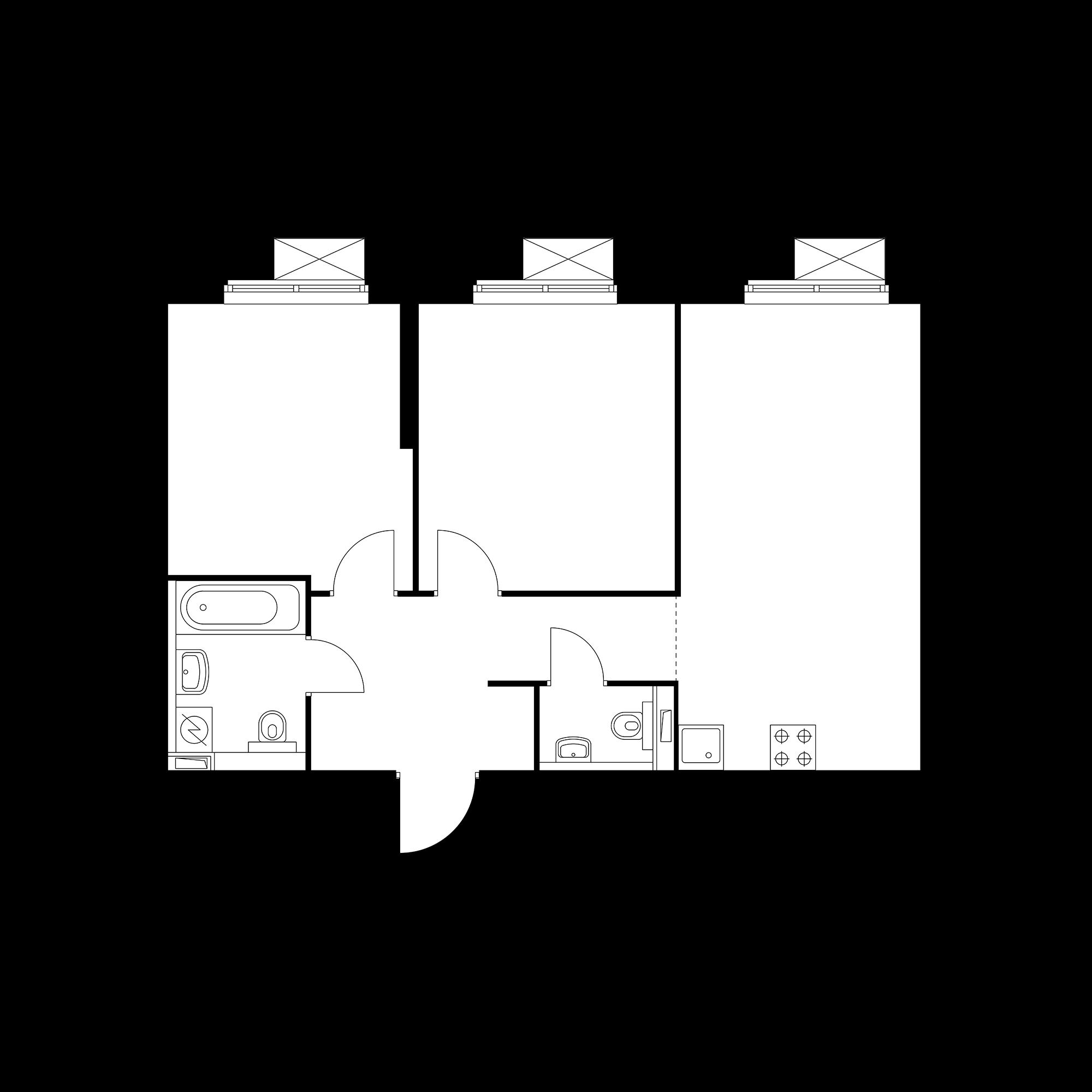 2-комнатная 58.96  м²