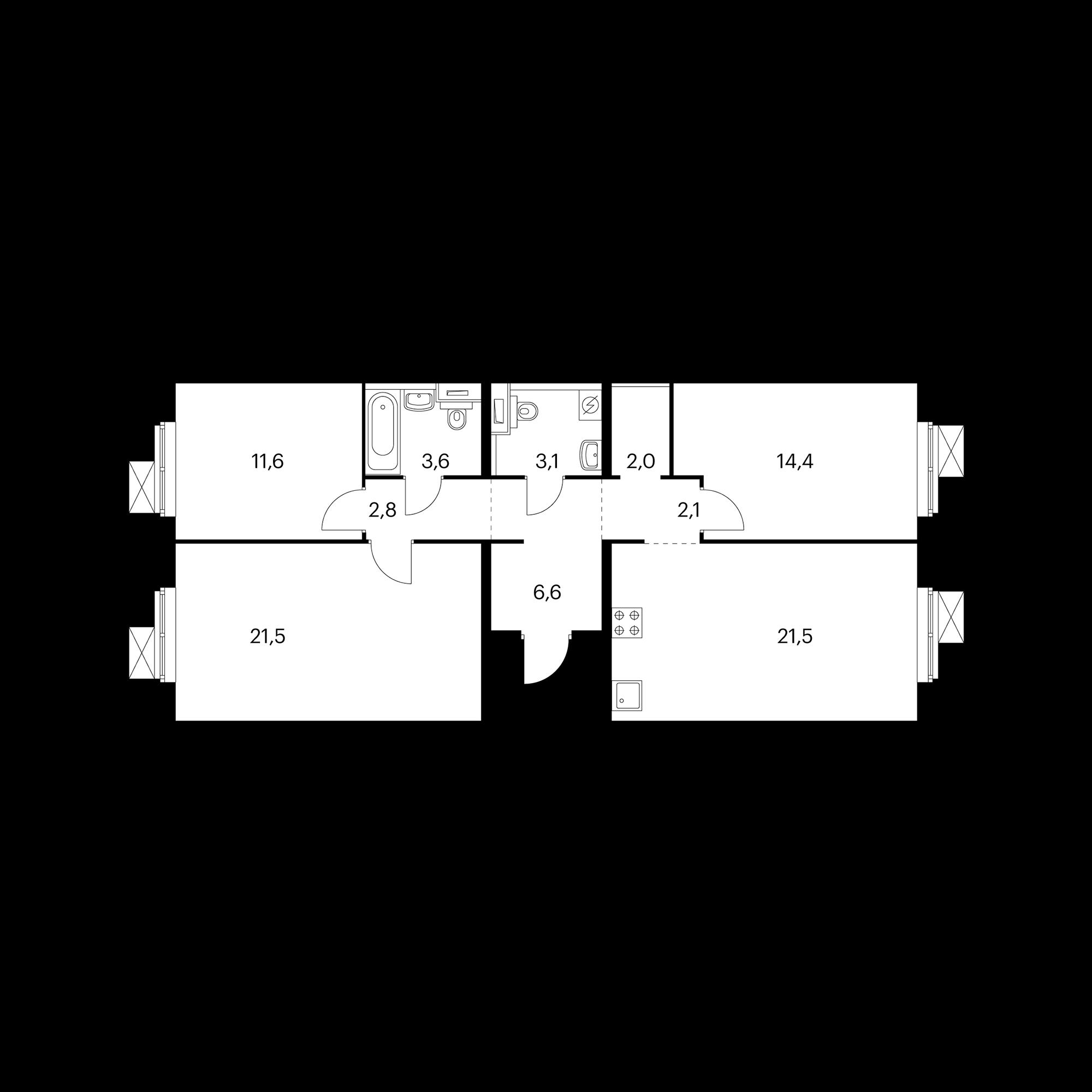 3-комнатная 89.2  м²