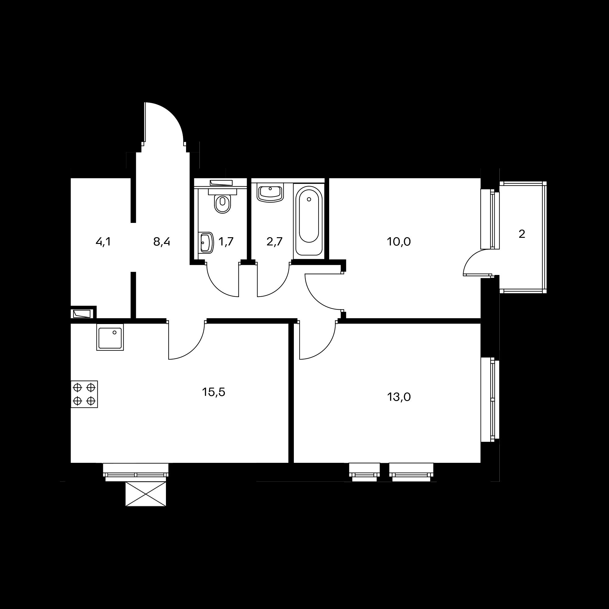 2-комнатная 55.9  м²
